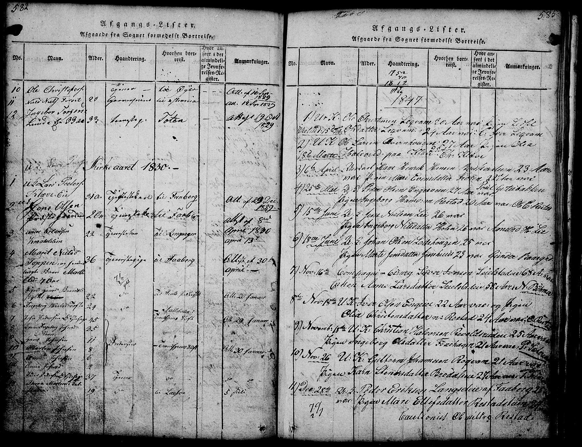 SAH, Gausdal prestekontor, Klokkerbok nr. 1, 1817-1848, s. 582-585