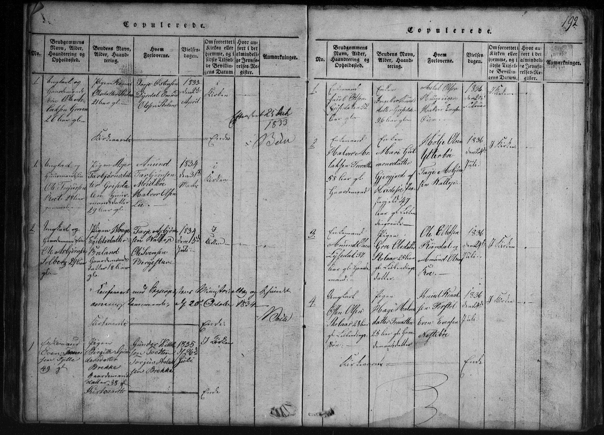 SAKO, Rauland kirkebøker, G/Gb/L0001: Klokkerbok nr. II 1, 1815-1886, s. 192