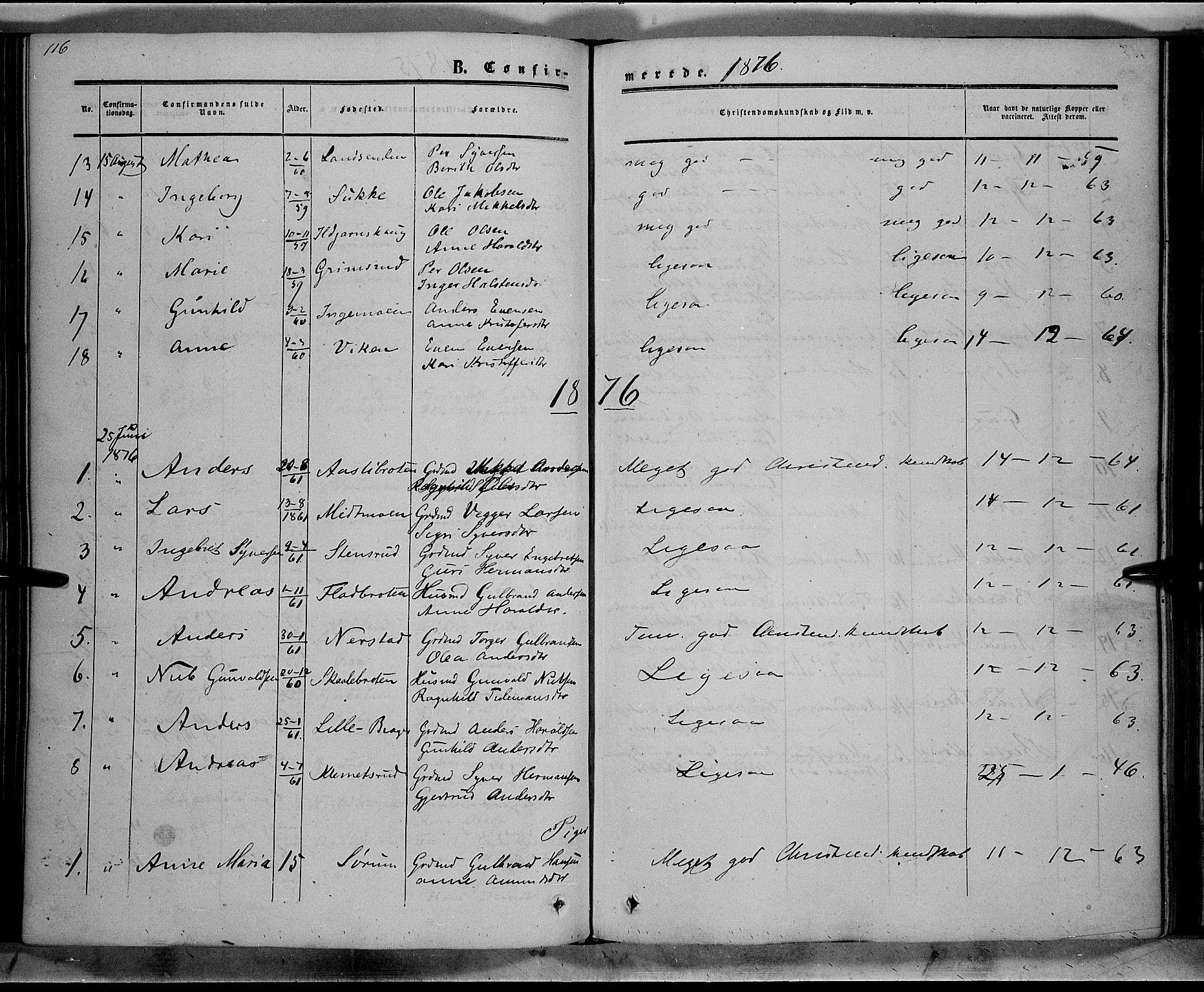 SAH, Sør-Aurdal prestekontor, Ministerialbok nr. 7, 1849-1876, s. 116