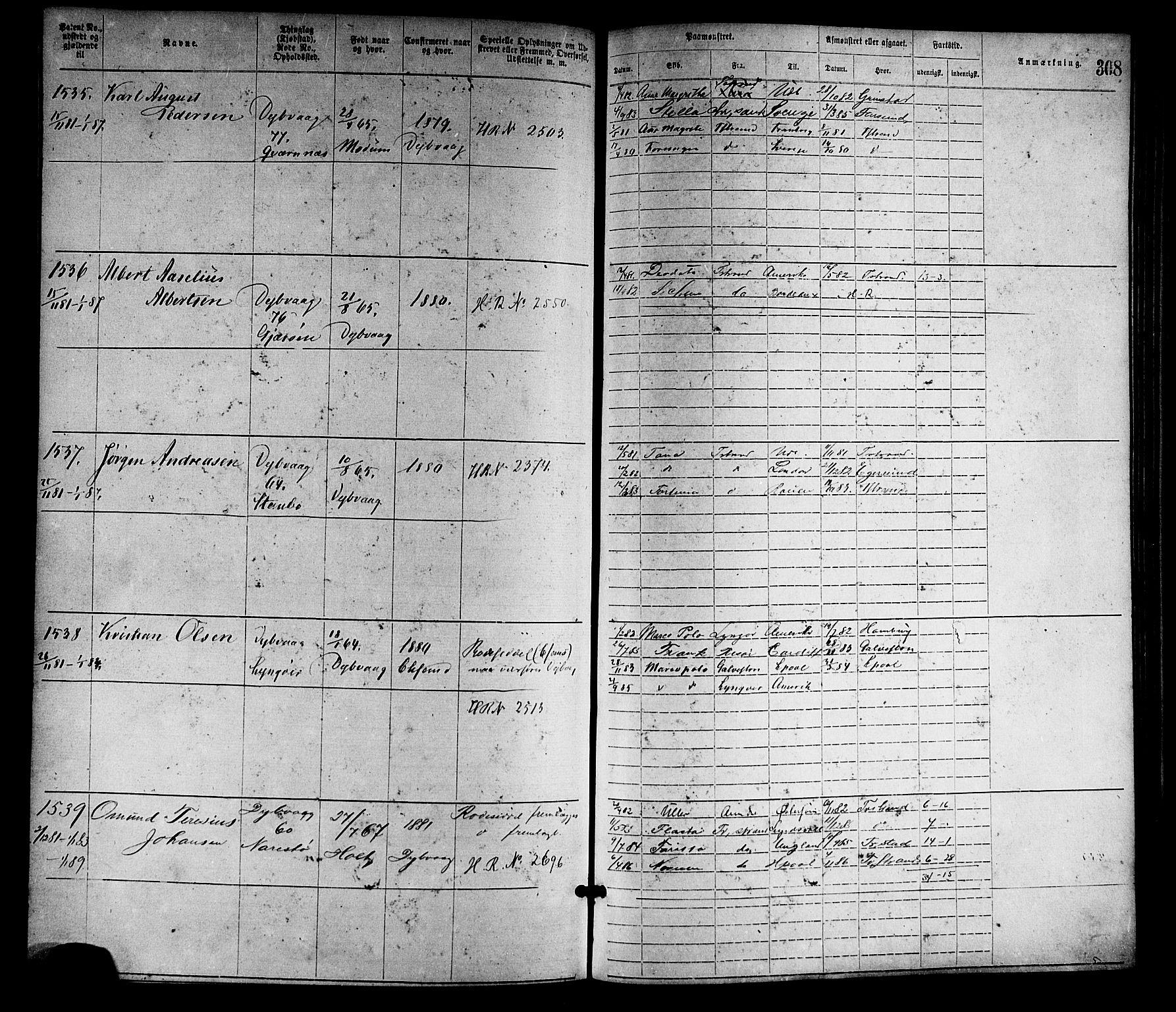 SAK, Tvedestrand mønstringskrets, F/Fa/L0001: Annotasjonsrulle nr 1-1905 med register, R-1, 1866-1886, s. 333