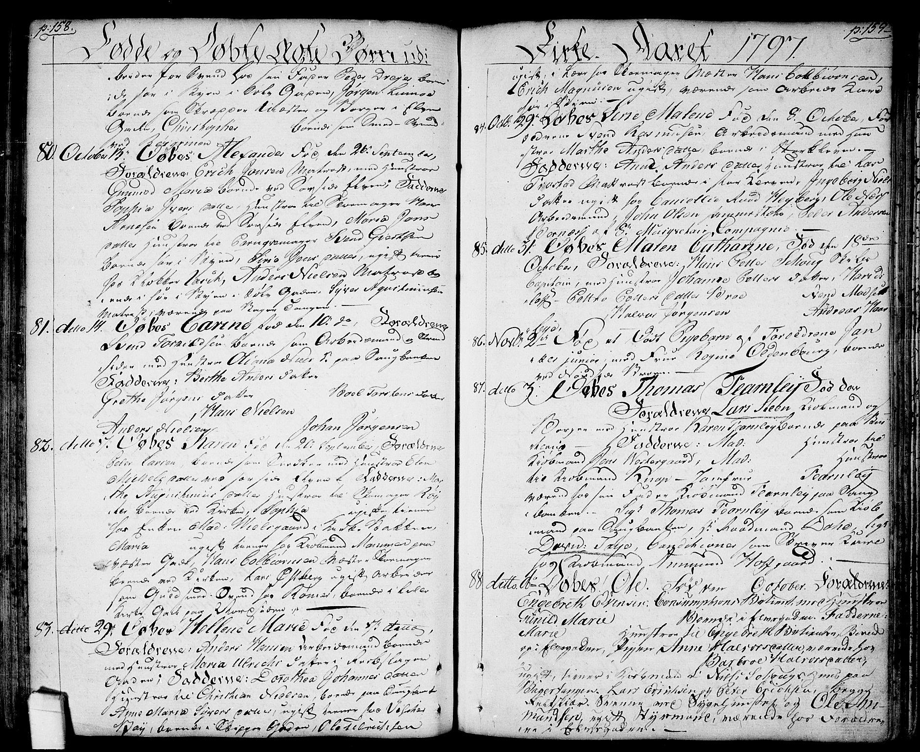 SAO, Halden prestekontor Kirkebøker, F/Fa/L0002: Ministerialbok nr. I 2, 1792-1812, s. 158-159