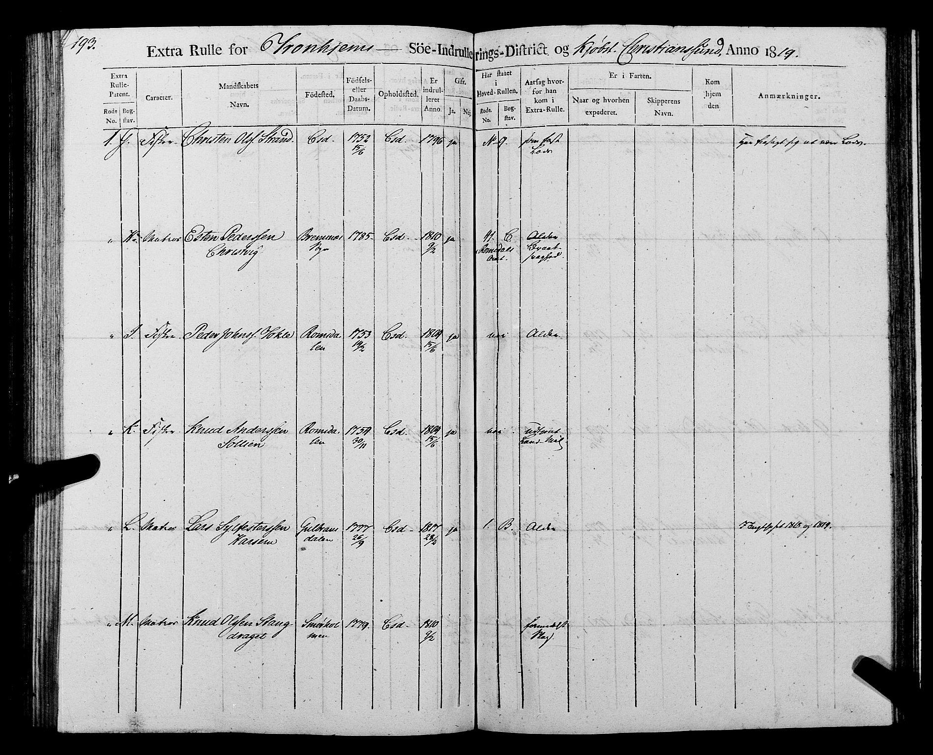 SAT, Sjøinnrulleringen - Trondhjemske distrikt, 01/L0016: --, 1819, s. 193
