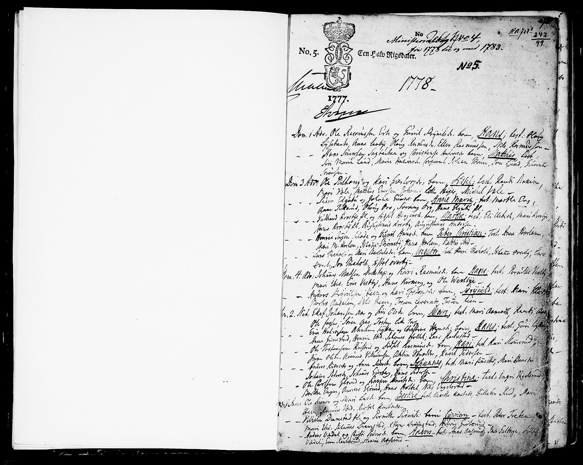 SAO, Rakkestad prestekontor Kirkebøker, F/Fa/L0004: Ministerialbok nr. I 4, 1777-1783, s. 0-1