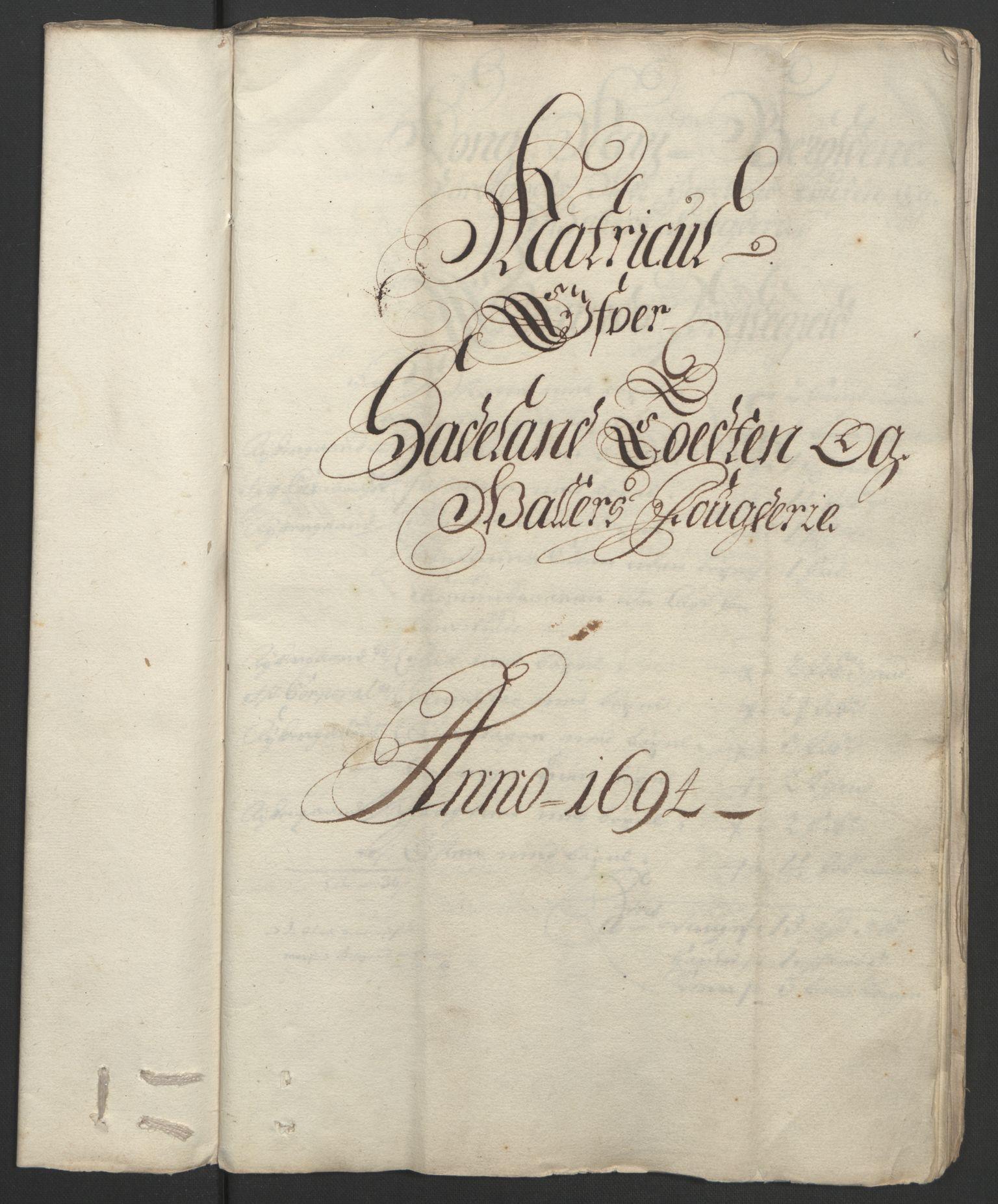 RA, Rentekammeret inntil 1814, Reviderte regnskaper, Fogderegnskap, R18/L1292: Fogderegnskap Hadeland, Toten og Valdres, 1693-1694, s. 258