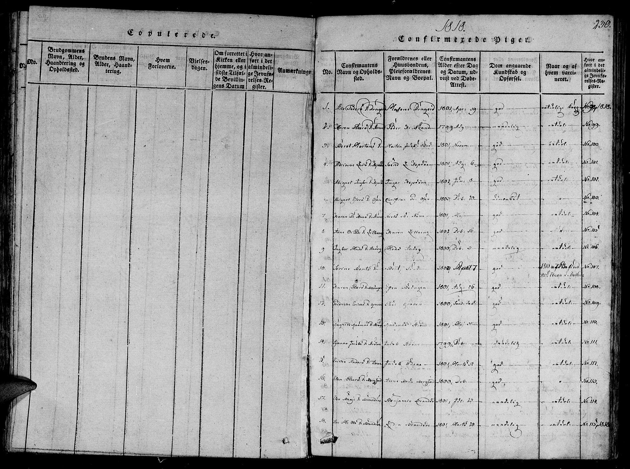 SAT, Ministerialprotokoller, klokkerbøker og fødselsregistre - Sør-Trøndelag, 657/L0702: Ministerialbok nr. 657A03, 1818-1831, s. 230