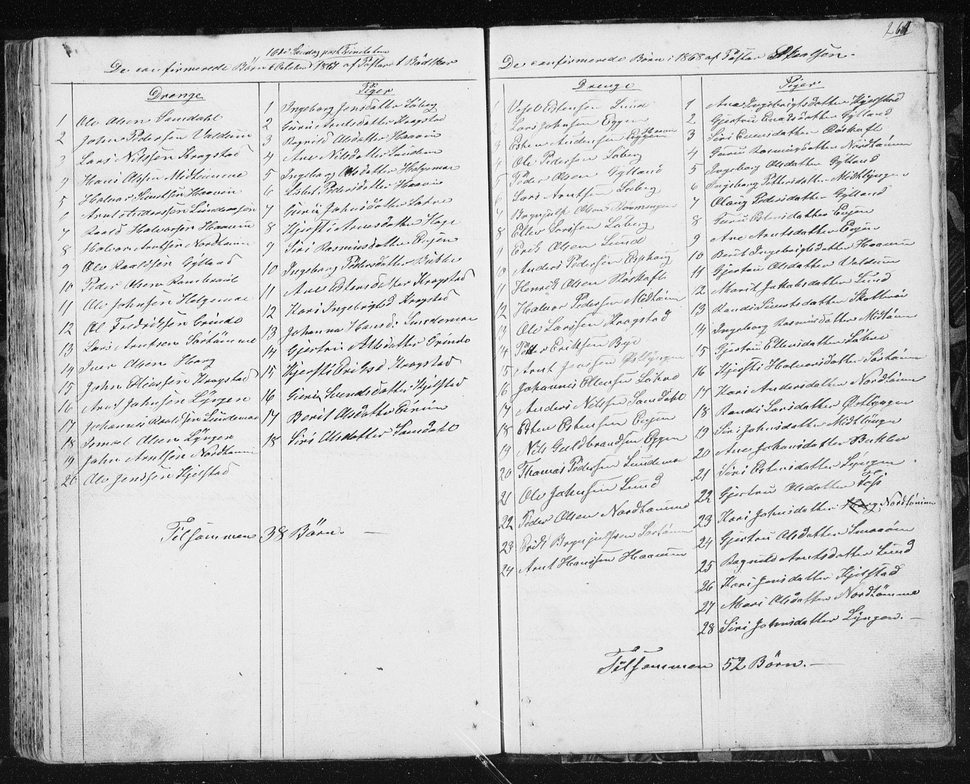 SAT, Ministerialprotokoller, klokkerbøker og fødselsregistre - Sør-Trøndelag, 692/L1110: Klokkerbok nr. 692C05, 1849-1889, s. 264