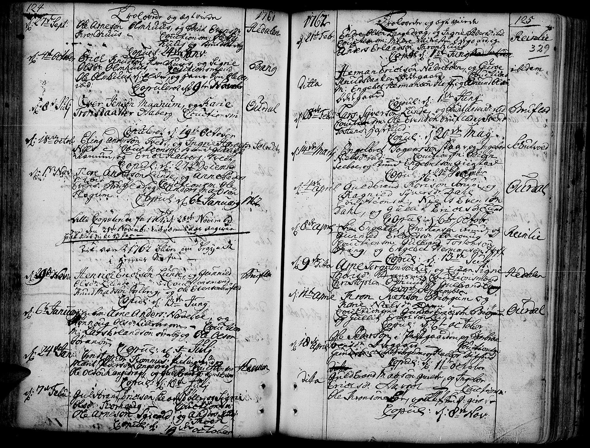 SAH, Aurdal prestekontor, Ministerialbok nr. 4, 1730-1762, s. 124-125