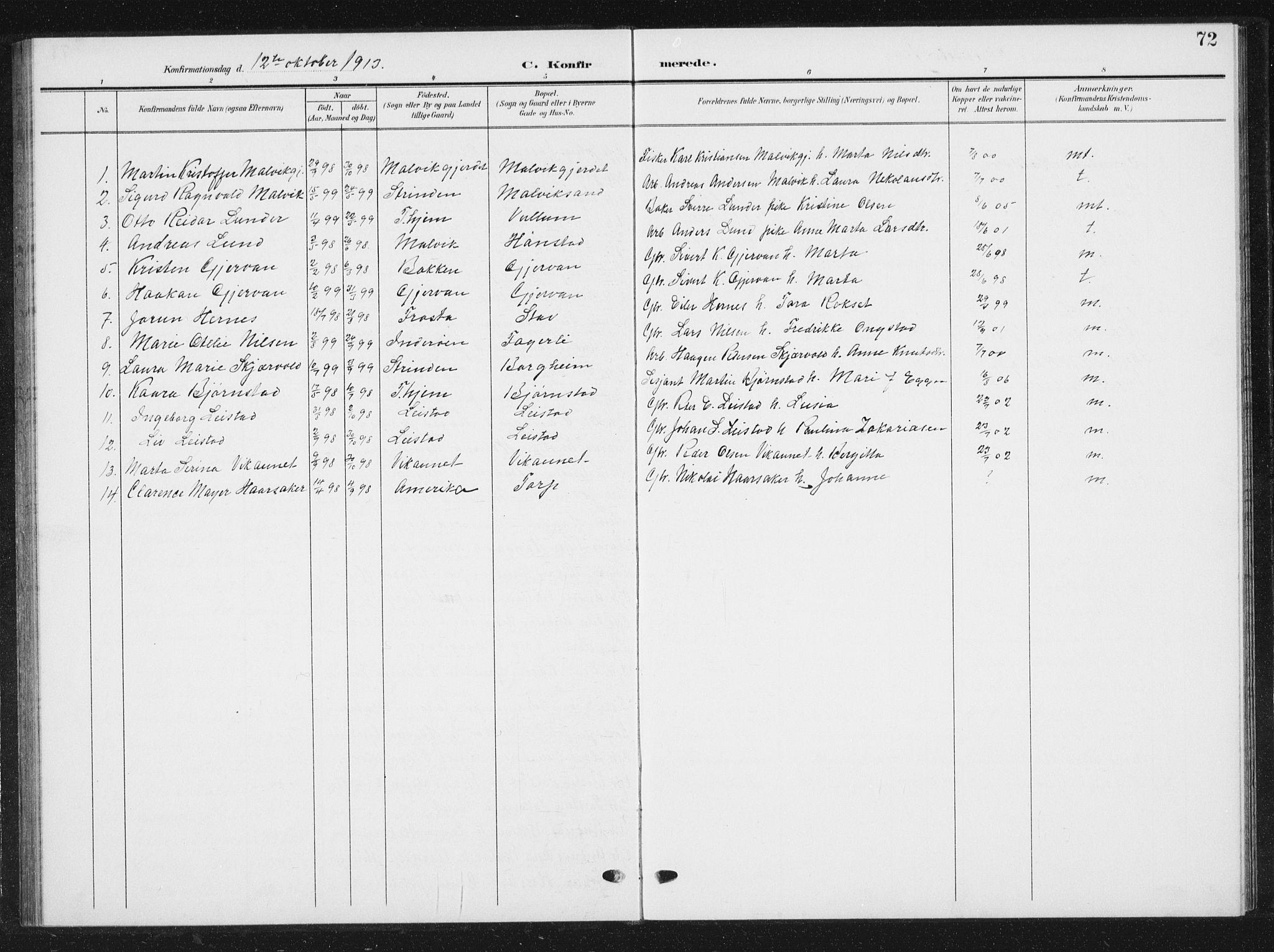 SAT, Ministerialprotokoller, klokkerbøker og fødselsregistre - Sør-Trøndelag, 616/L0424: Klokkerbok nr. 616C07, 1904-1940, s. 72