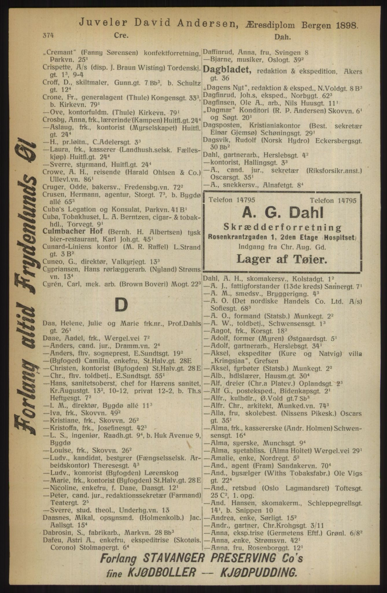 RA, Kristiania adressebok (publikasjon)*, 1914, s. 374