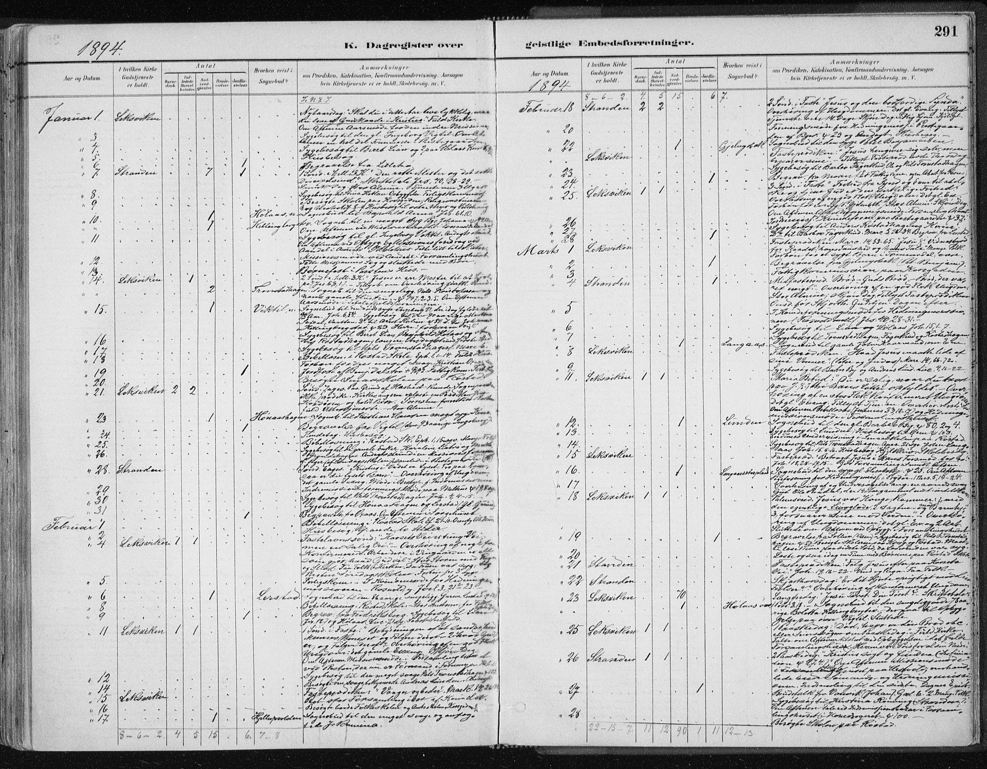 SAT, Ministerialprotokoller, klokkerbøker og fødselsregistre - Nord-Trøndelag, 701/L0010: Ministerialbok nr. 701A10, 1883-1899, s. 291