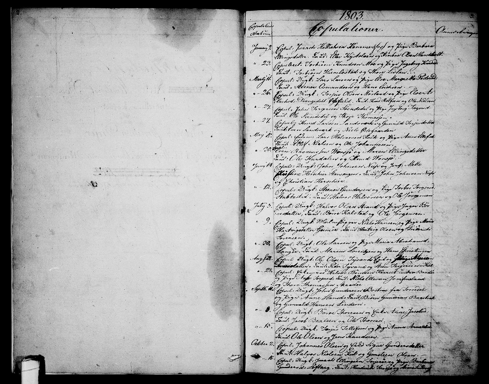 SAKO, Sannidal kirkebøker, F/Fa/L0003: Ministerialbok nr. 3, 1803-1813, s. 2-3