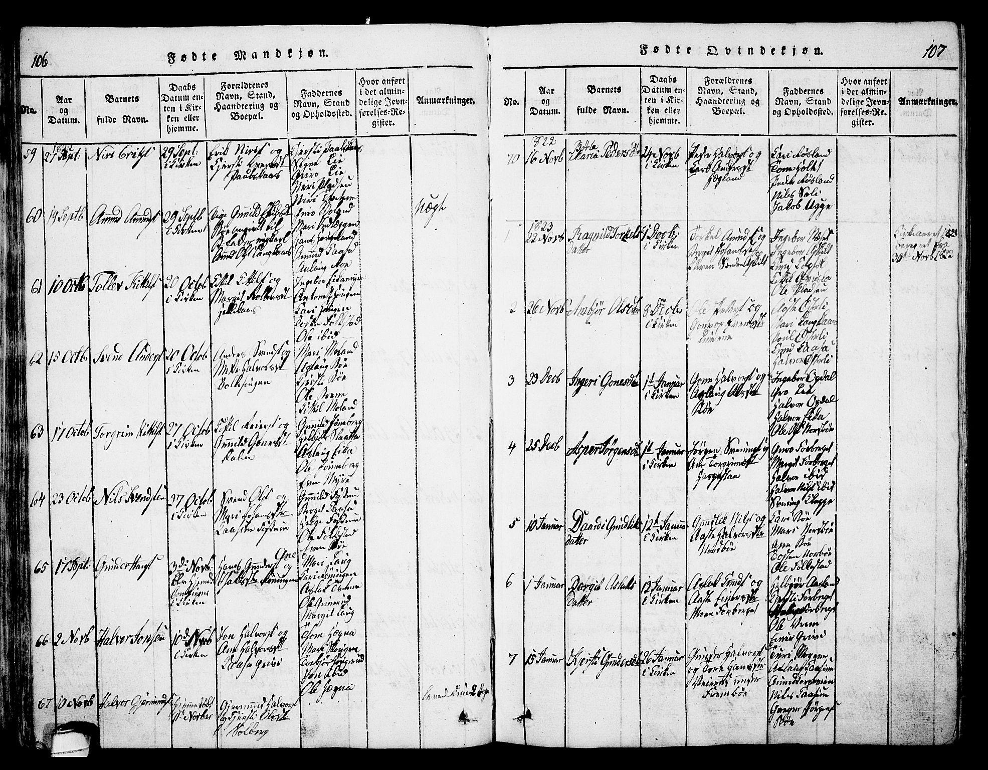 SAKO, Bø kirkebøker, G/Ga/L0001: Klokkerbok nr. 1, 1815-1831, s. 106-107