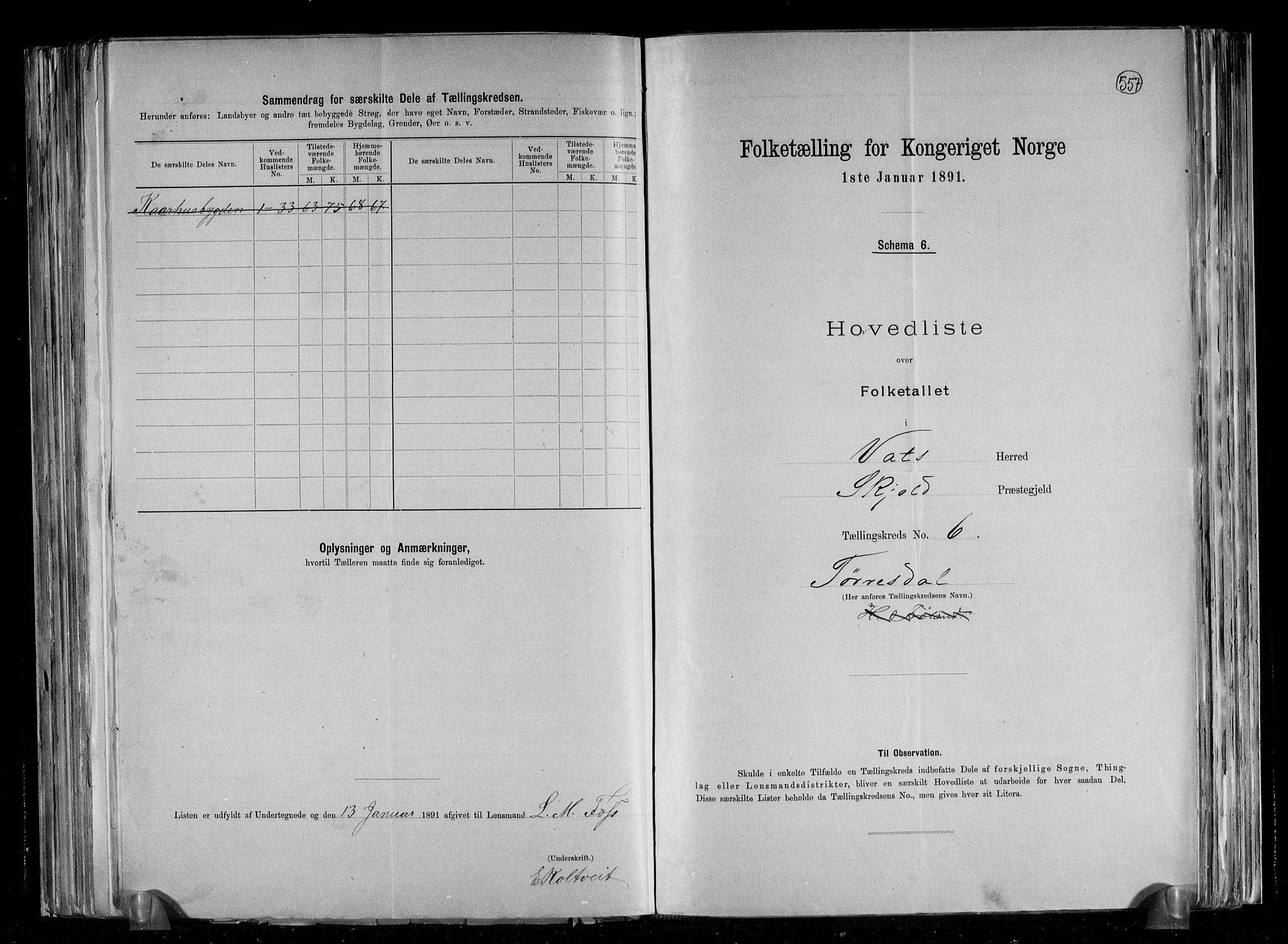 RA, Folketelling 1891 for 1155 Vats herred, 1891, s. 15