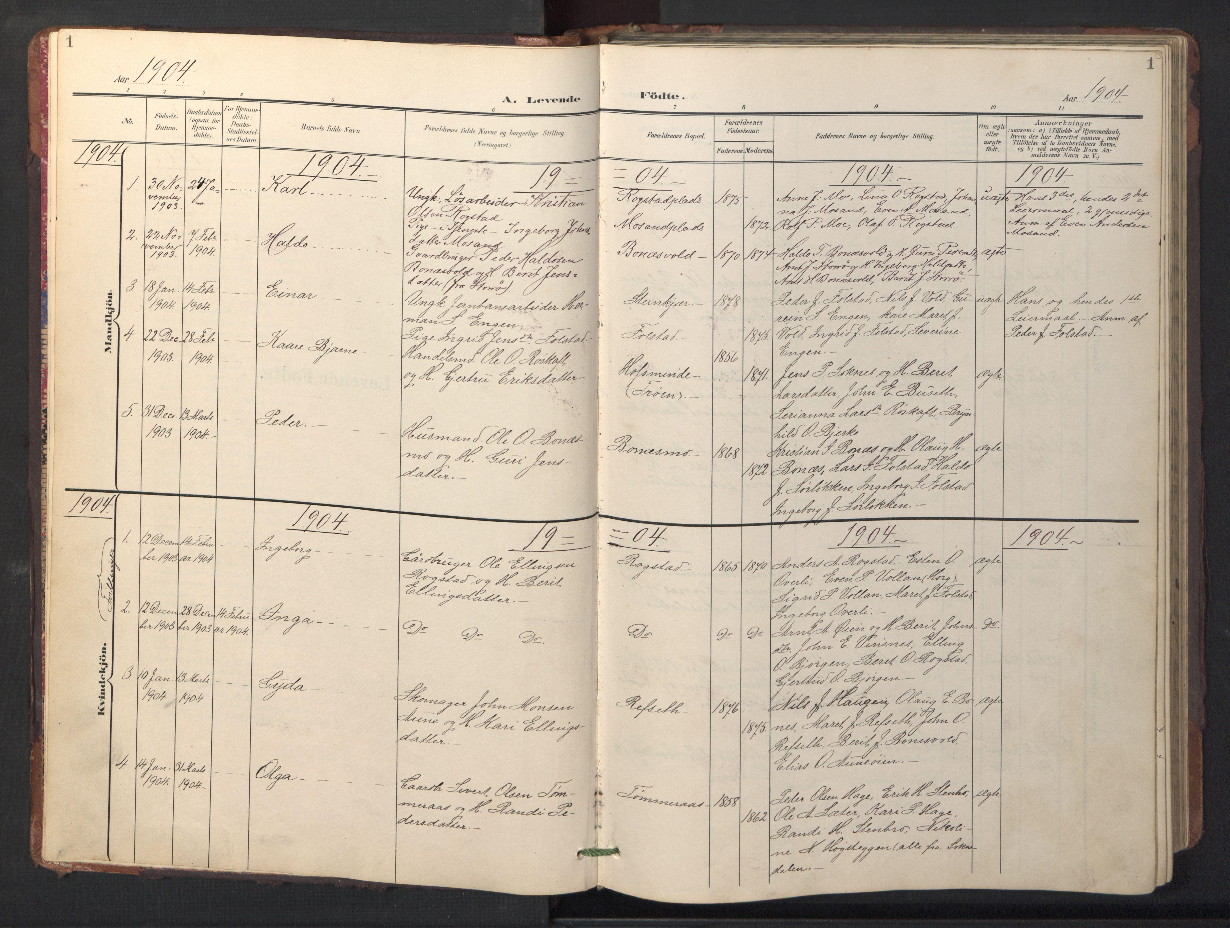 SAT, Ministerialprotokoller, klokkerbøker og fødselsregistre - Sør-Trøndelag, 687/L1019: Klokkerbok nr. 687C03, 1904-1931, s. 1