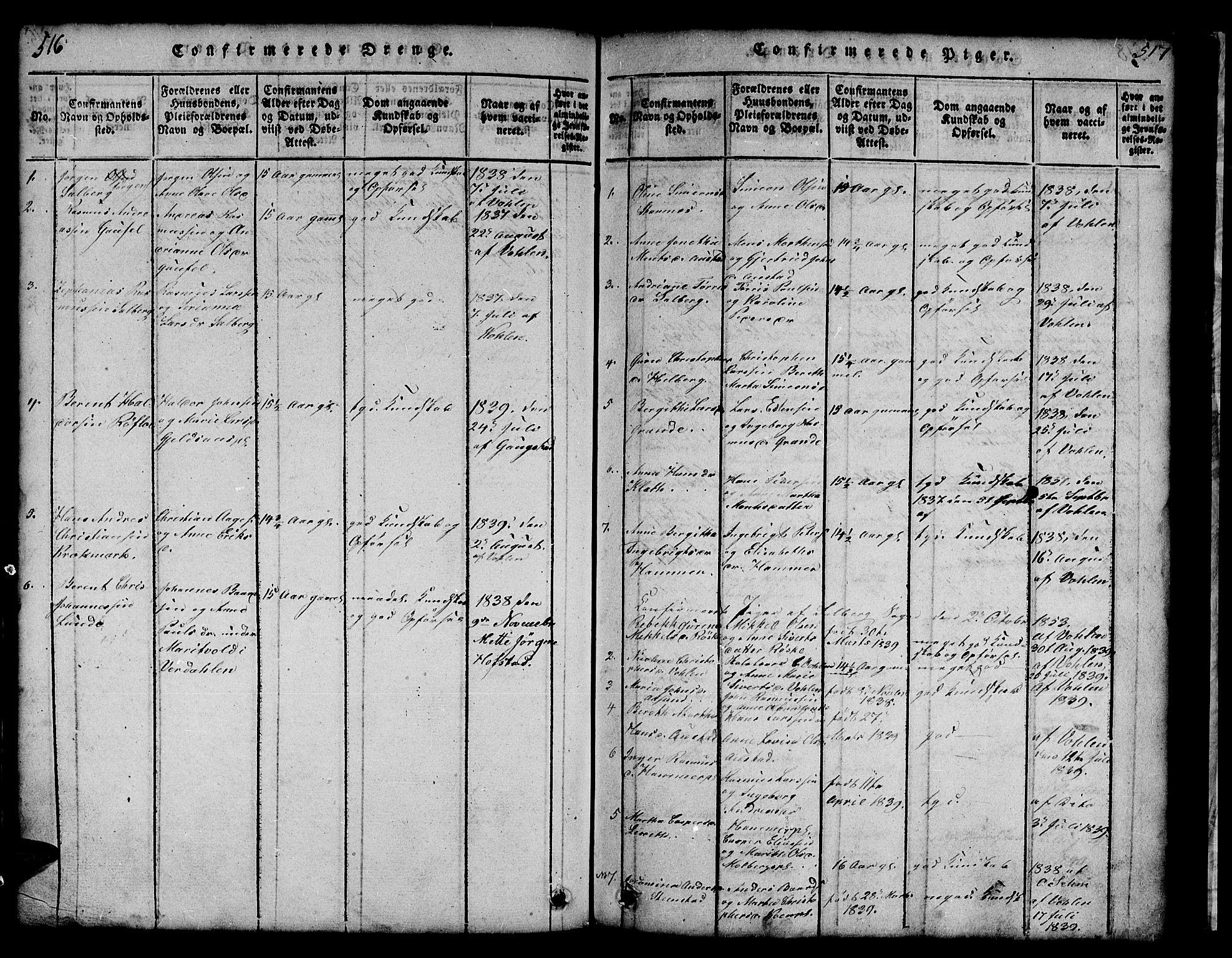 SAT, Ministerialprotokoller, klokkerbøker og fødselsregistre - Nord-Trøndelag, 731/L0310: Klokkerbok nr. 731C01, 1816-1874, s. 516-517