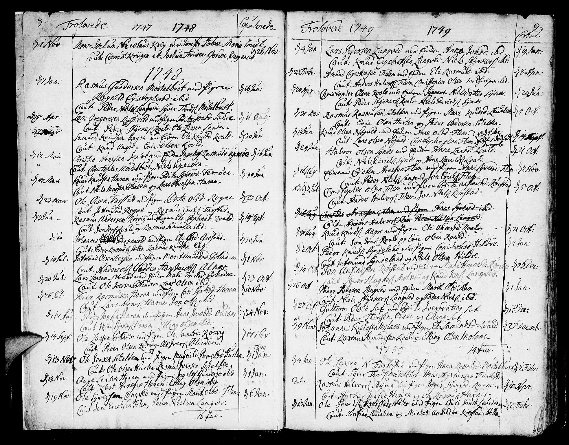 SAT, Ministerialprotokoller, klokkerbøker og fødselsregistre - Møre og Romsdal, 536/L0493: Ministerialbok nr. 536A02, 1739-1802, s. 8-9