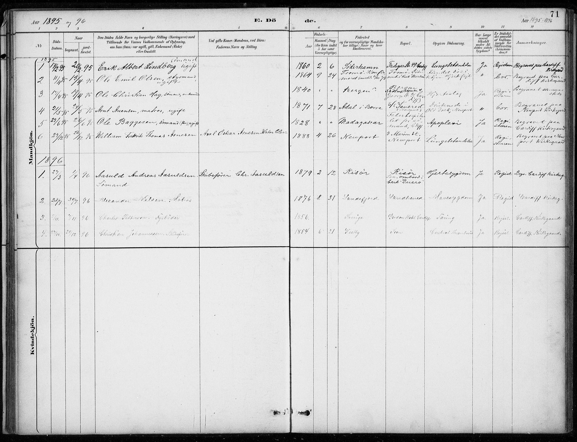 SAB, Den Norske Sjømannsmisjon i utlandet*, Ministerialbok nr. A 2, 1887-1932, s. 71