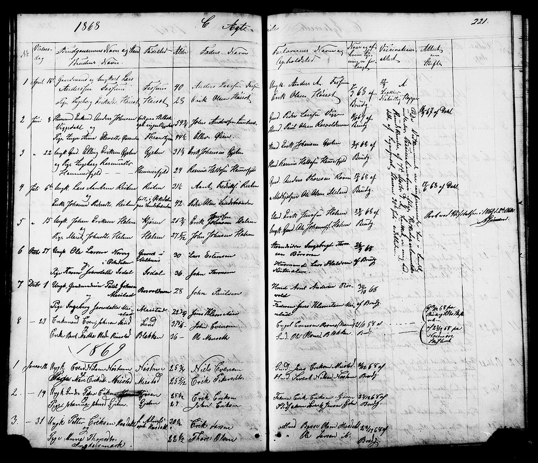 SAT, Ministerialprotokoller, klokkerbøker og fødselsregistre - Sør-Trøndelag, 665/L0777: Klokkerbok nr. 665C02, 1867-1915, s. 221