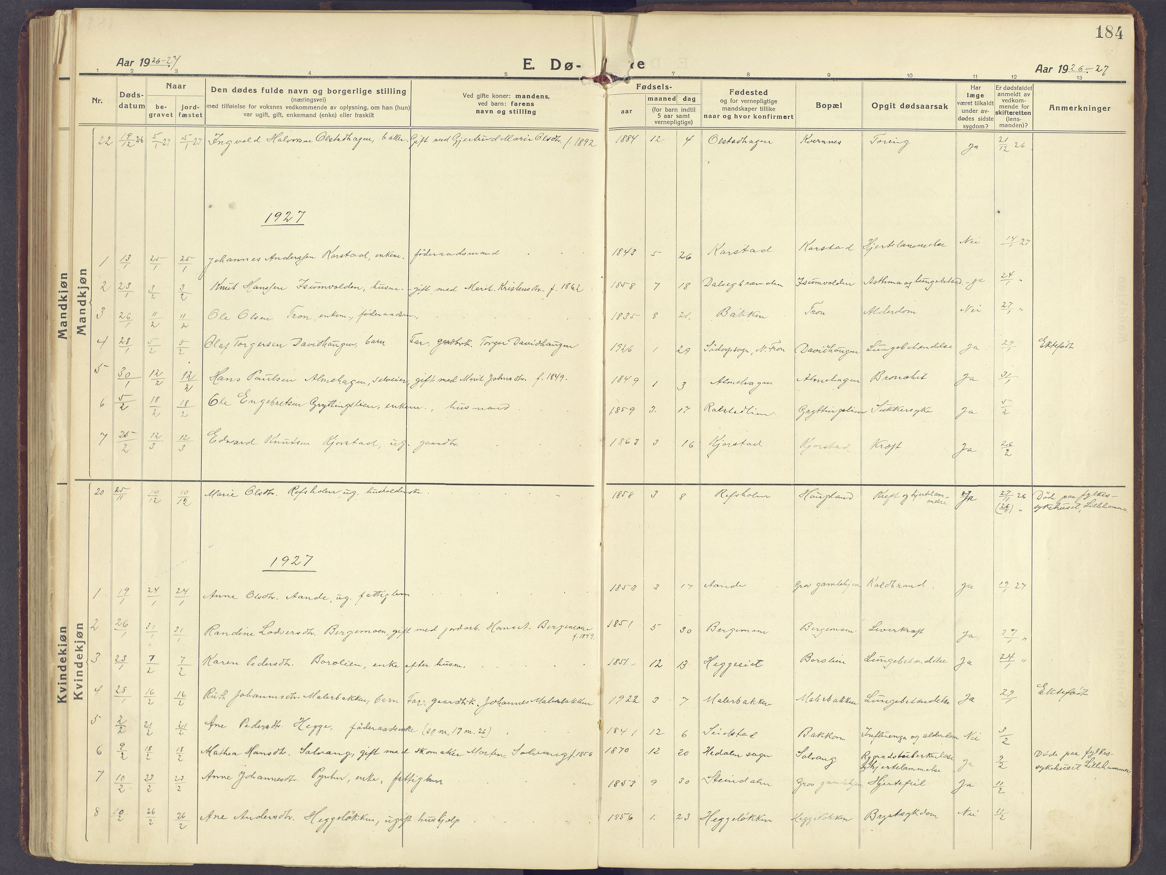 SAH, Sør-Fron prestekontor, H/Ha/Haa/L0005: Ministerialbok nr. 5, 1920-1933, s. 184