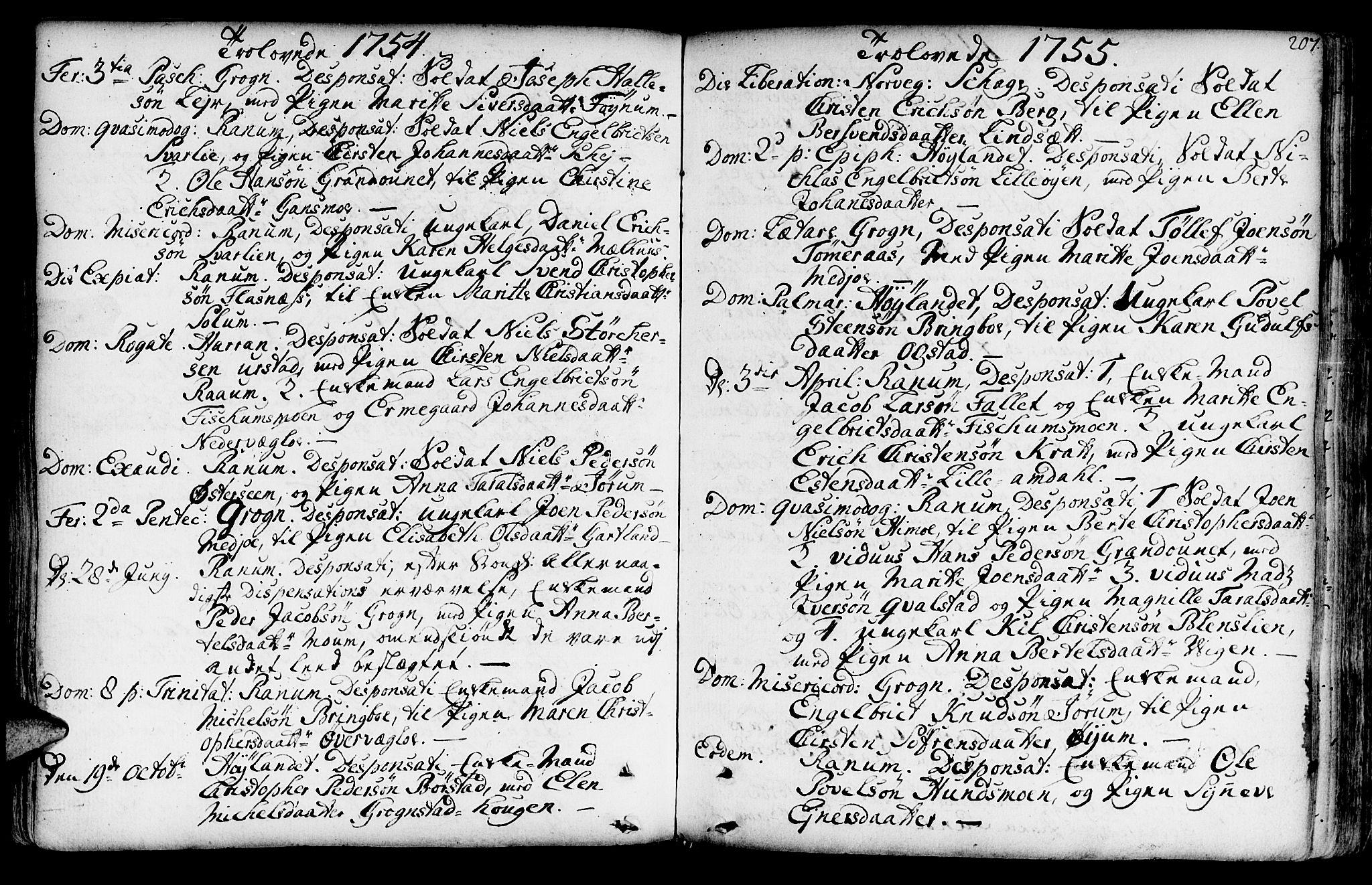 SAT, Ministerialprotokoller, klokkerbøker og fødselsregistre - Nord-Trøndelag, 764/L0542: Ministerialbok nr. 764A02, 1748-1779, s. 207