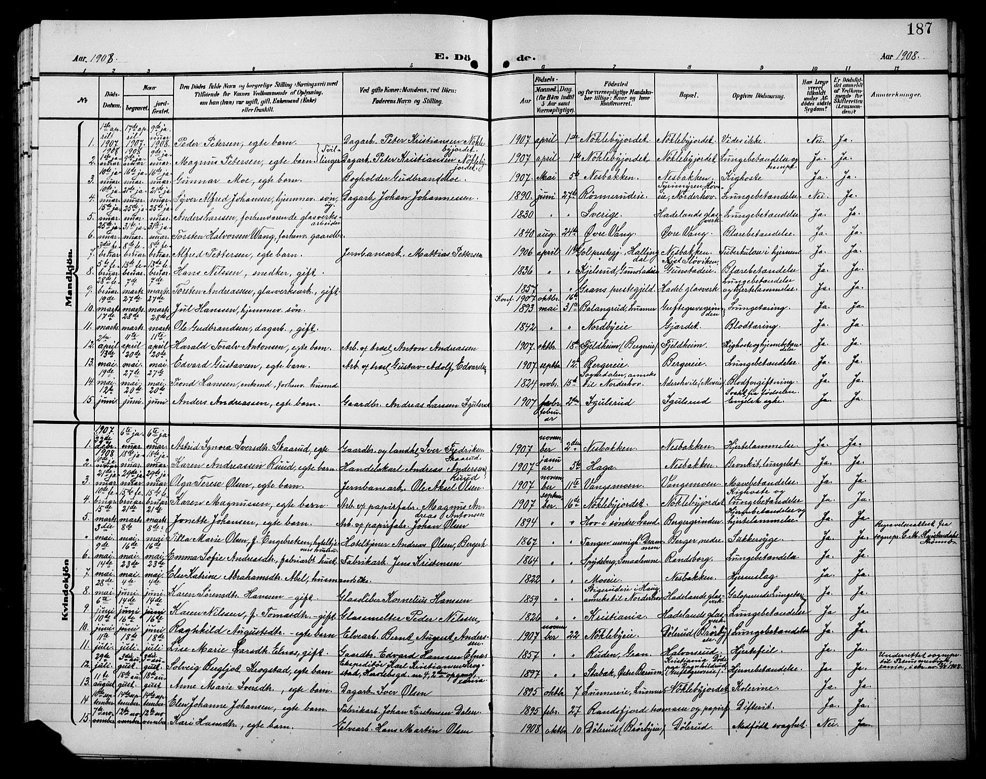 SAH, Jevnaker prestekontor, Klokkerbok nr. 4, 1907-1918, s. 187