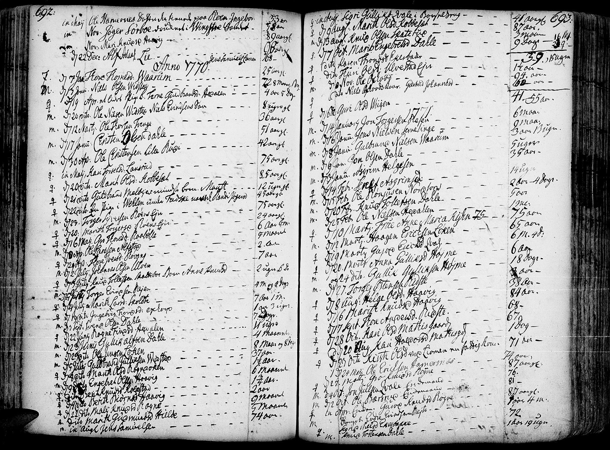 SAH, Slidre prestekontor, Ministerialbok nr. 1, 1724-1814, s. 692-693