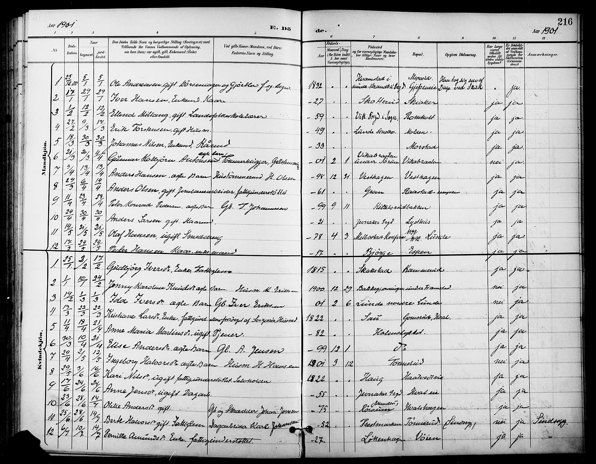 SAH, Gran prestekontor, Ministerialbok nr. 19, 1898-1907, s. 216
