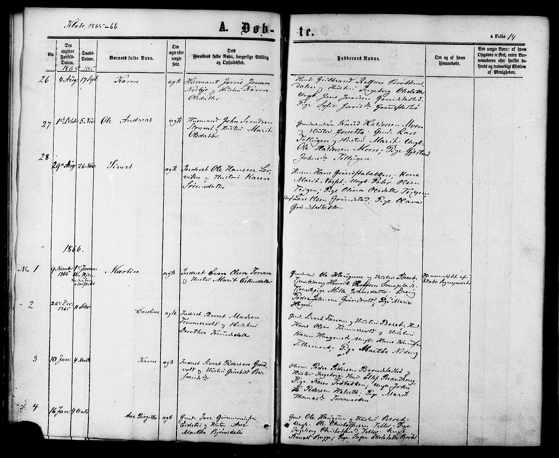 SAT, Ministerialprotokoller, klokkerbøker og fødselsregistre - Sør-Trøndelag, 618/L0442: Ministerialbok nr. 618A06 /1, 1863-1879, s. 14