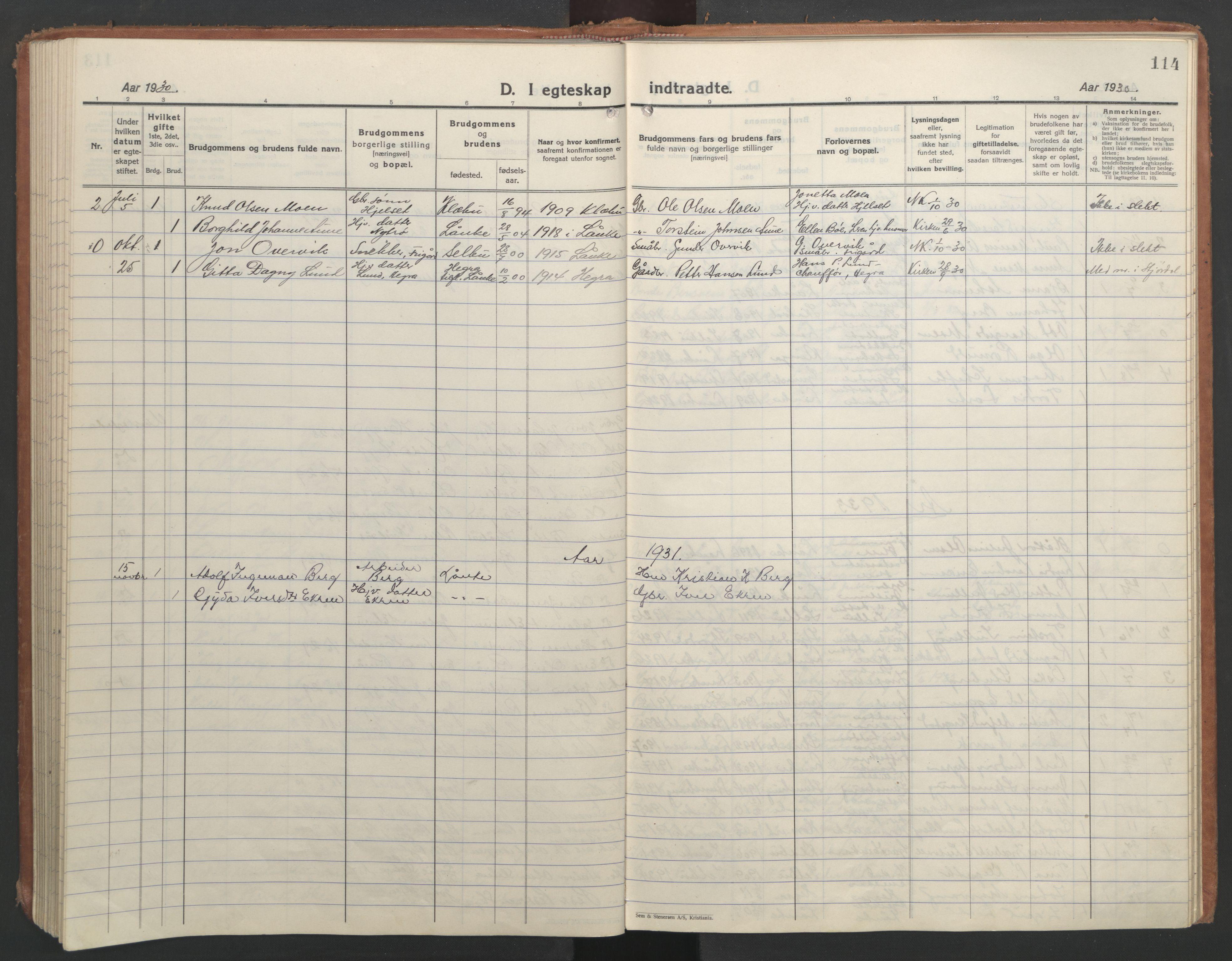 SAT, Ministerialprotokoller, klokkerbøker og fødselsregistre - Nord-Trøndelag, 710/L0097: Klokkerbok nr. 710C02, 1925-1955, s. 114