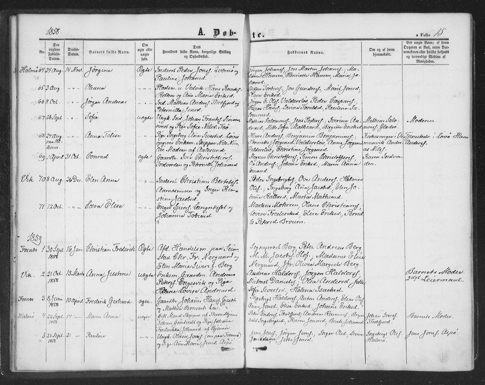 SAT, Ministerialprotokoller, klokkerbøker og fødselsregistre - Nord-Trøndelag, 773/L0615: Ministerialbok nr. 773A06, 1857-1870, s. 15