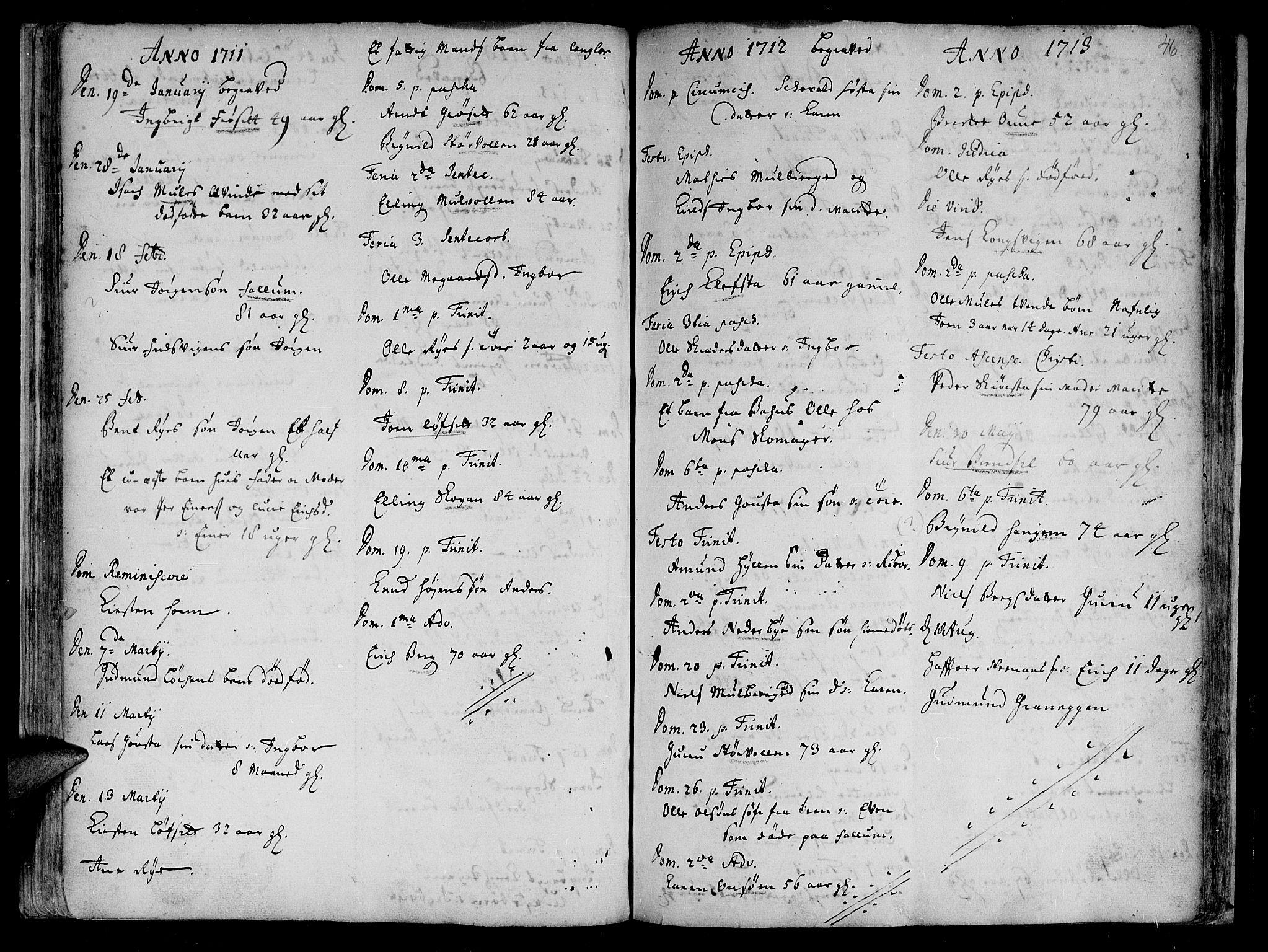 SAT, Ministerialprotokoller, klokkerbøker og fødselsregistre - Sør-Trøndelag, 612/L0368: Ministerialbok nr. 612A02, 1702-1753, s. 46