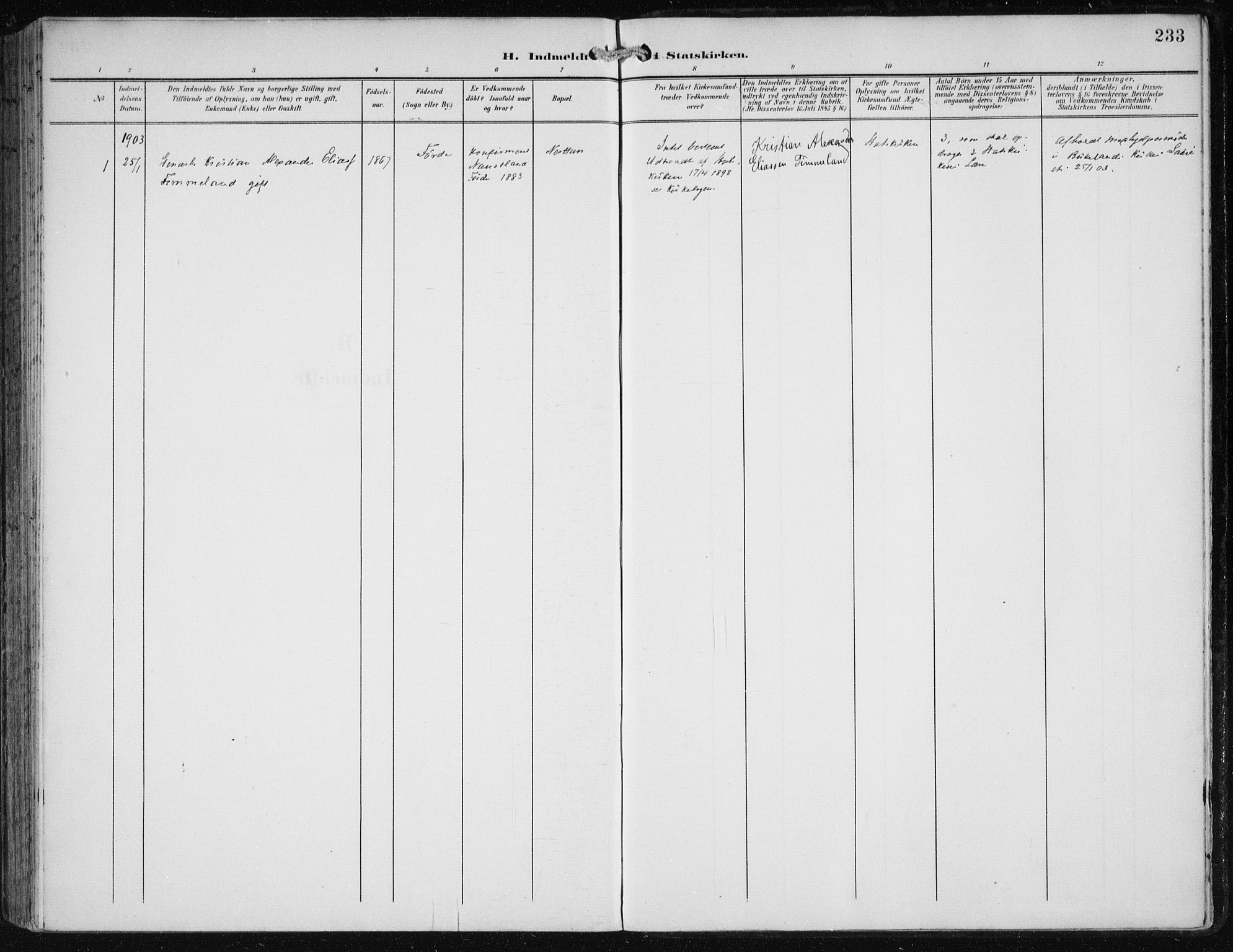 SAB, Fana Sokneprestembete, H/Haa/Haai/L0003: Ministerialbok nr. I 3, 1900-1912, s. 233