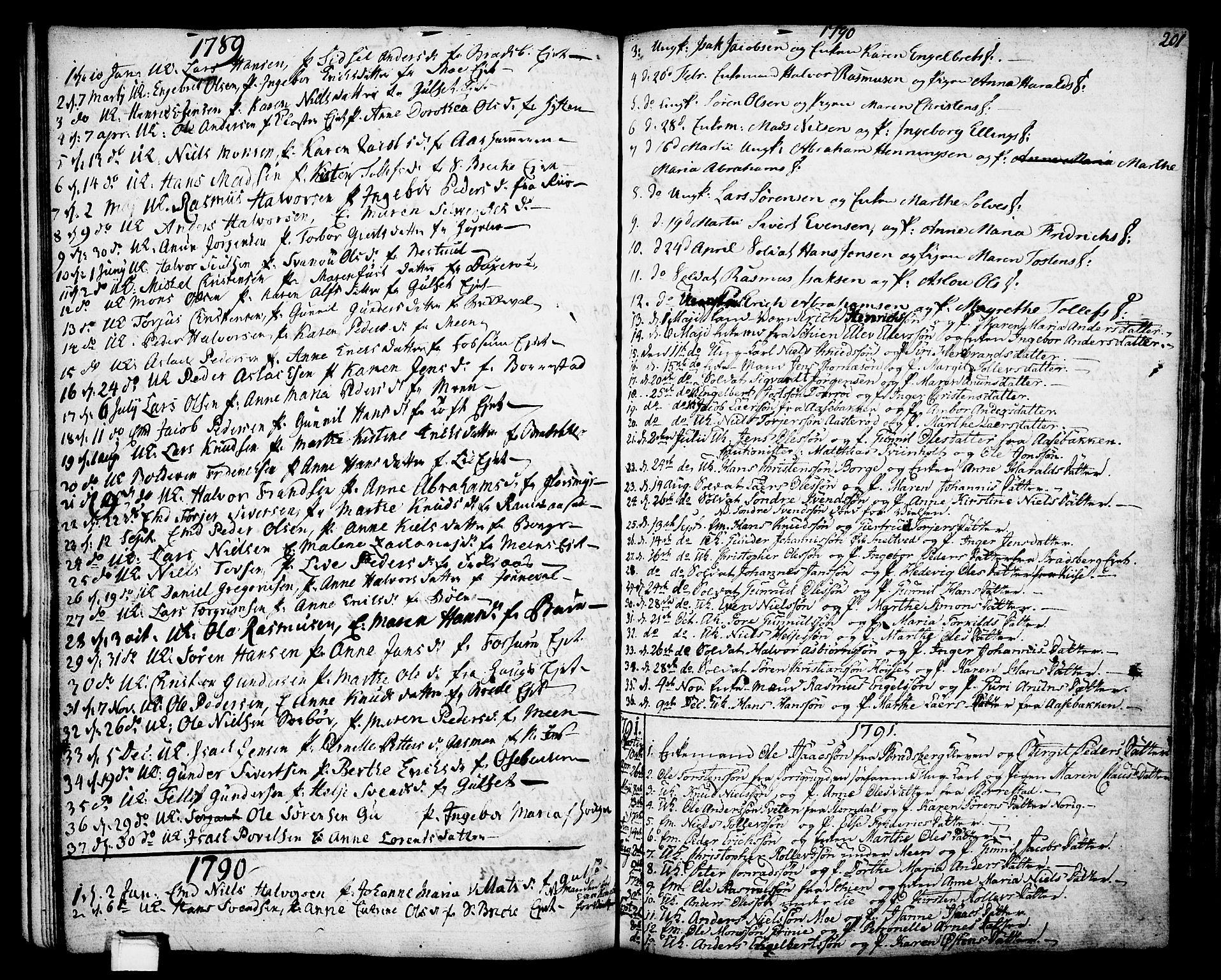 SAKO, Gjerpen kirkebøker, F/Fa/L0002: Ministerialbok nr. 2, 1747-1795, s. 201