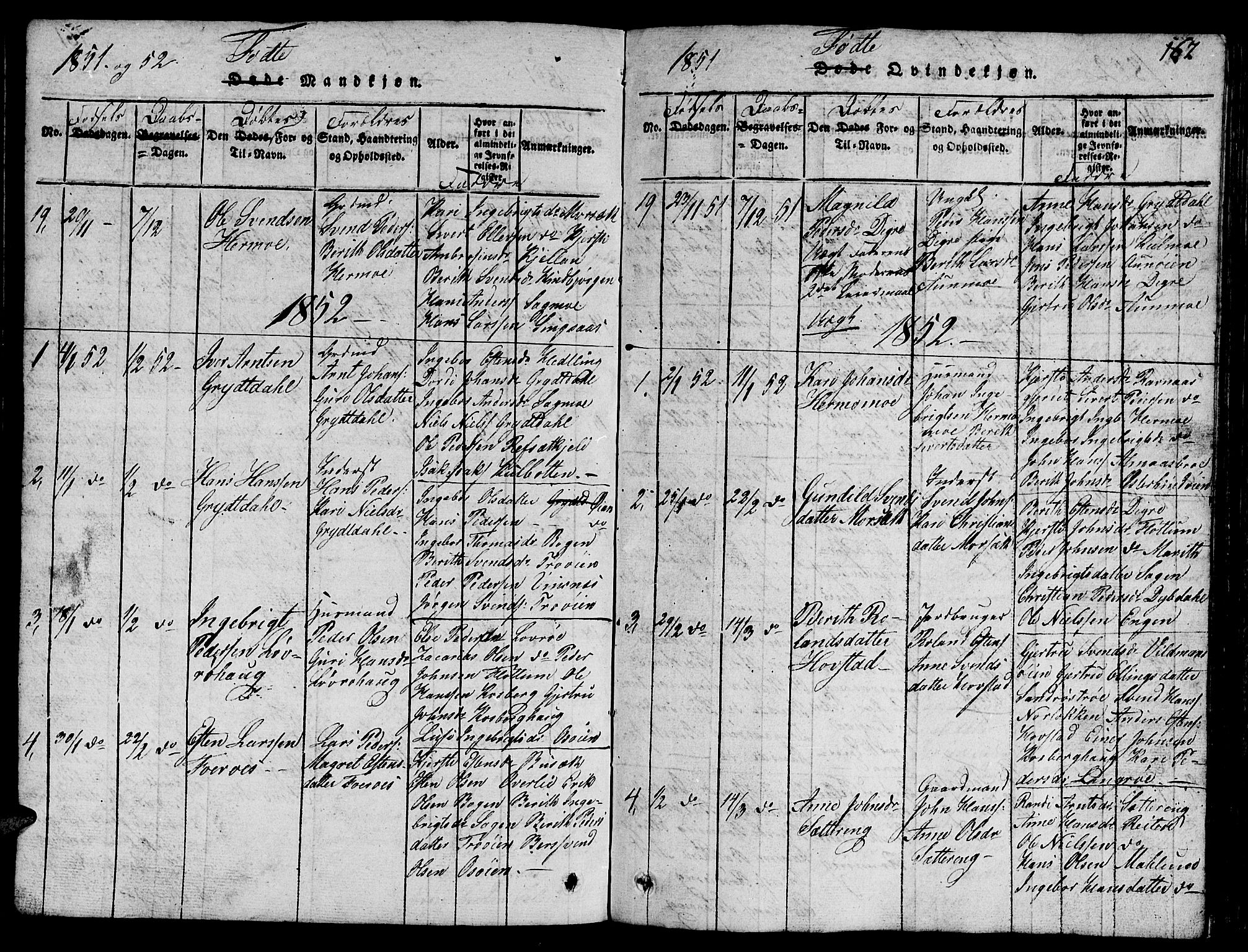 SAT, Ministerialprotokoller, klokkerbøker og fødselsregistre - Sør-Trøndelag, 688/L1026: Klokkerbok nr. 688C01, 1817-1860, s. 162