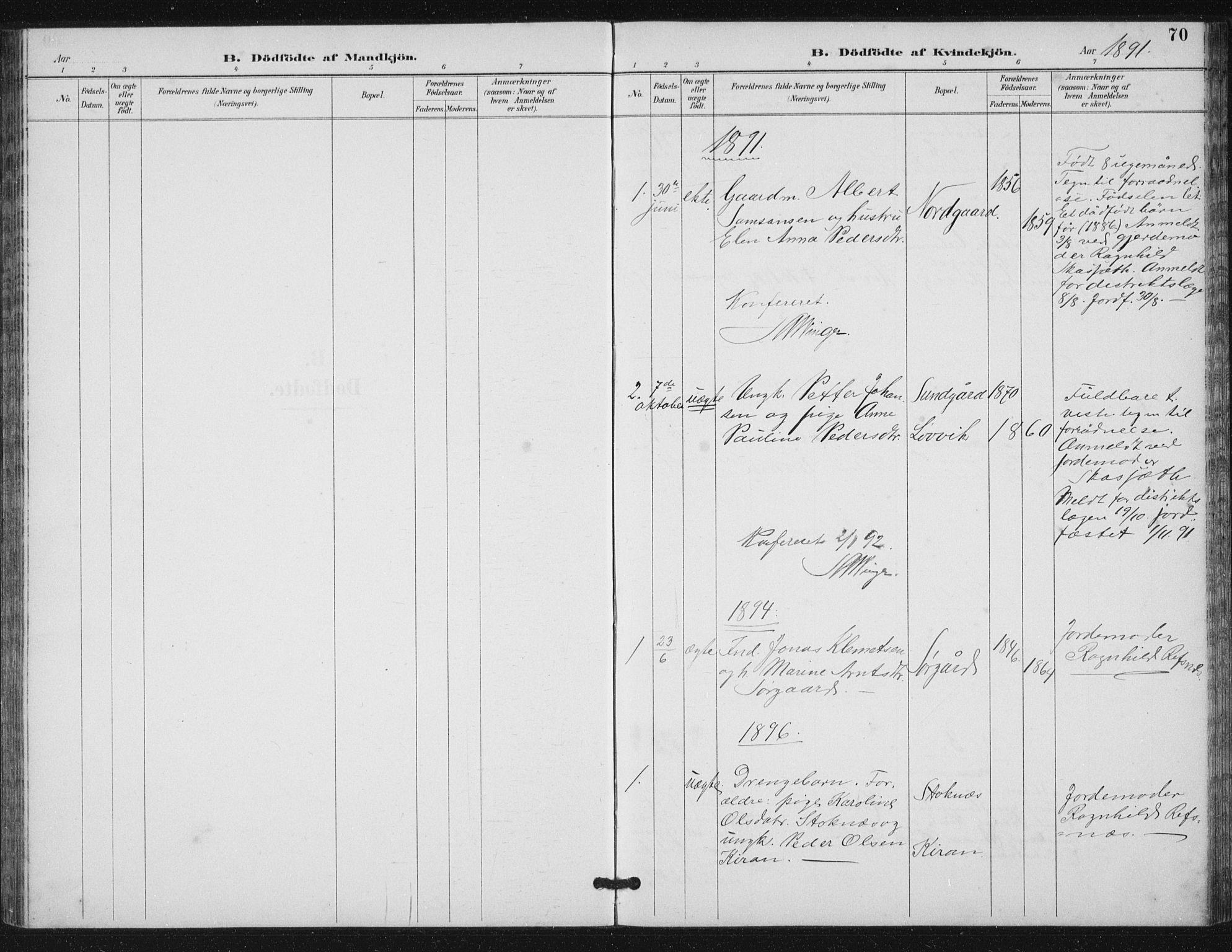 SAT, Ministerialprotokoller, klokkerbøker og fødselsregistre - Sør-Trøndelag, 656/L0698: Klokkerbok nr. 656C04, 1890-1904, s. 70