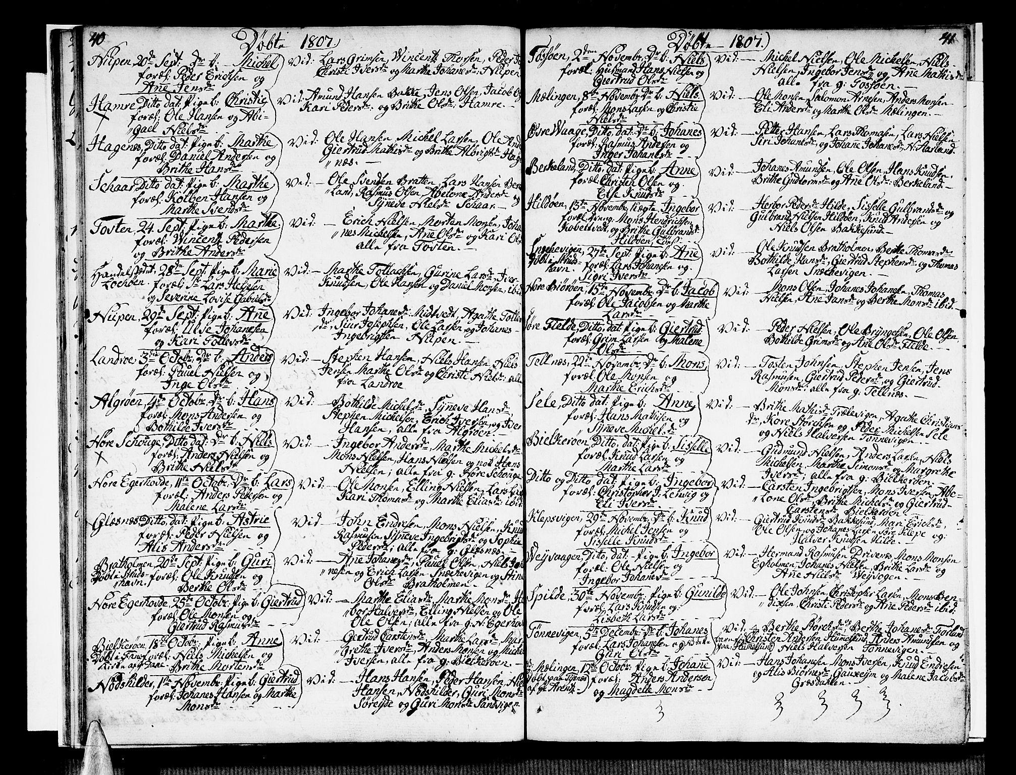 SAB, Sund sokneprestembete, Ministerialbok nr. A 10, 1804-1818, s. 42-43