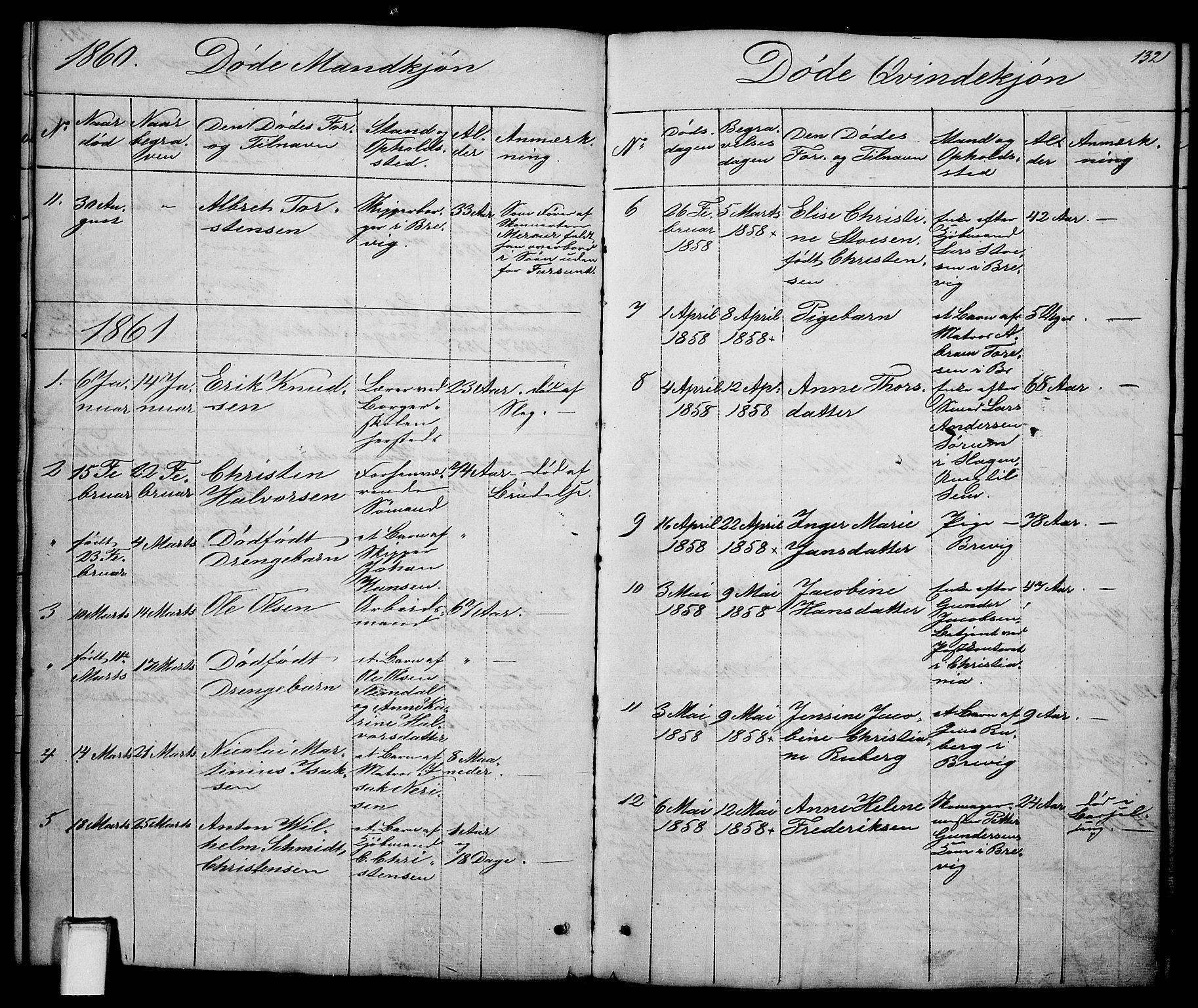 SAKO, Brevik kirkebøker, G/Ga/L0002: Klokkerbok nr. 2, 1846-1865, s. 132