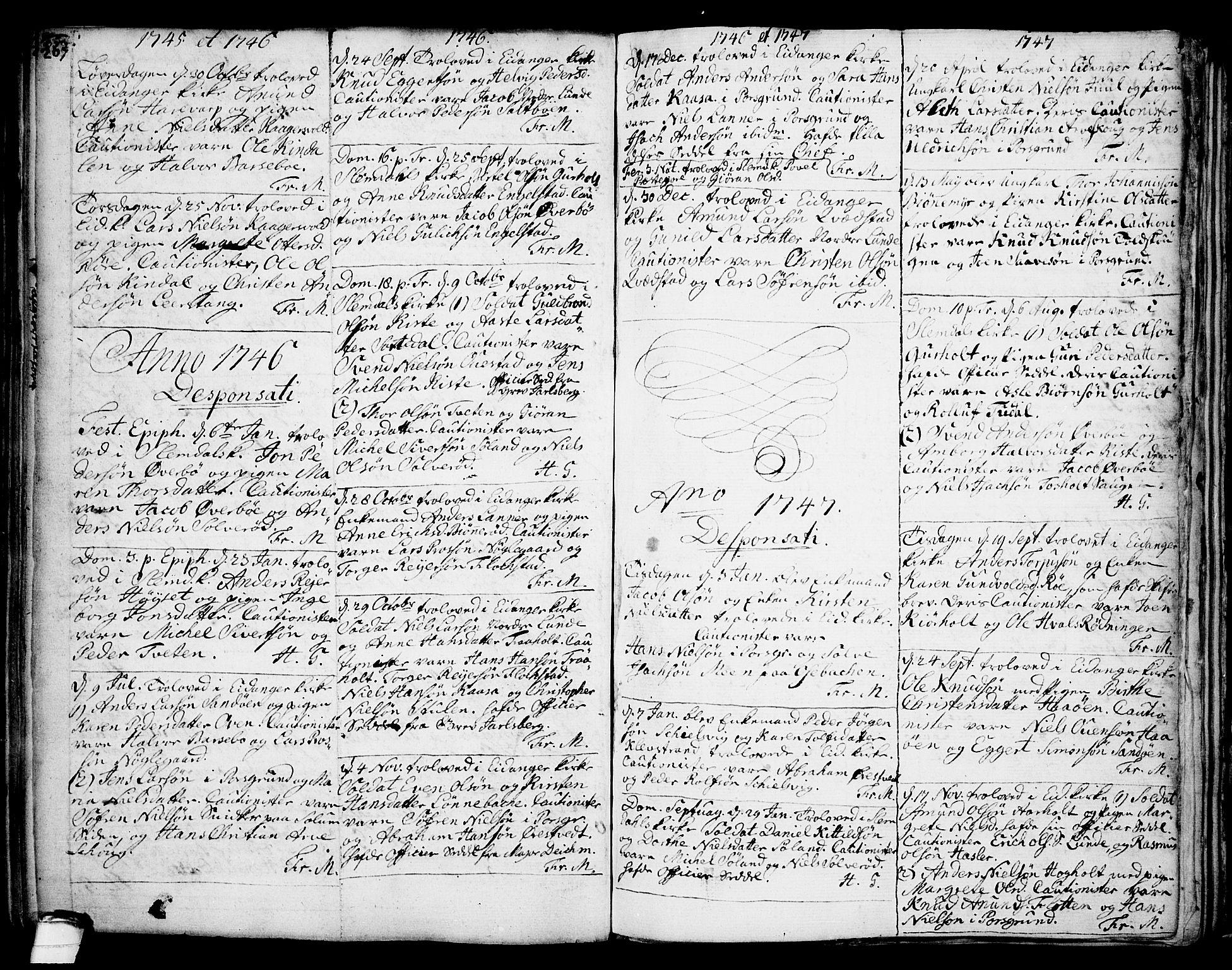 SAKO, Eidanger kirkebøker, F/Fa/L0004: Ministerialbok nr. 4, 1733-1759, s. 267-mangler