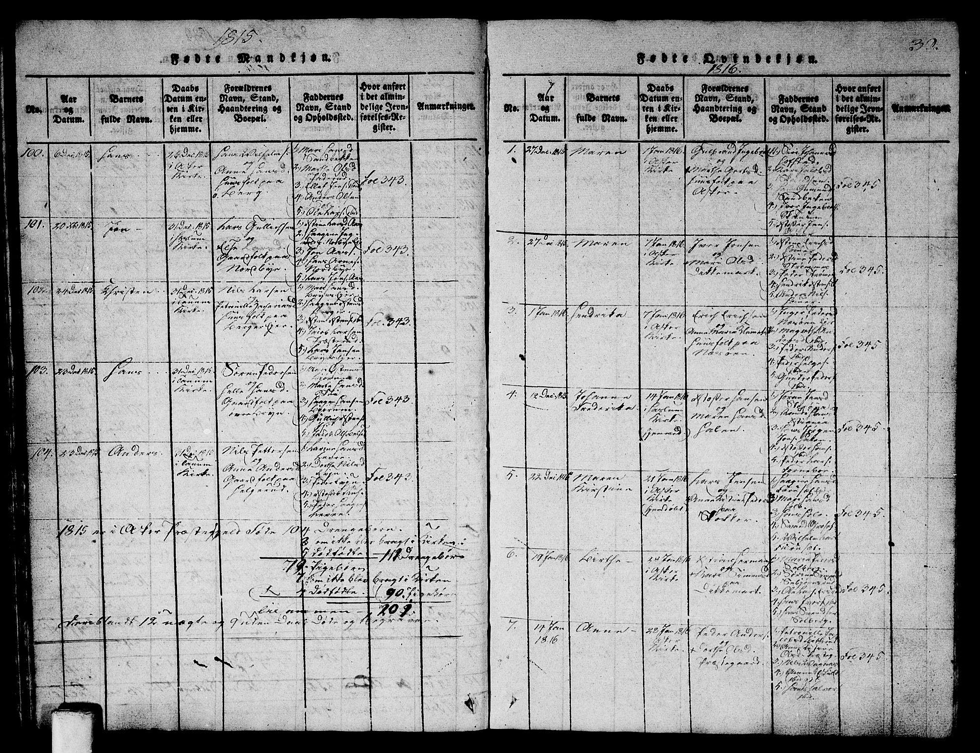 SAO, Asker prestekontor Kirkebøker, G/Ga/L0001: Klokkerbok nr. I 1, 1814-1830, s. 30