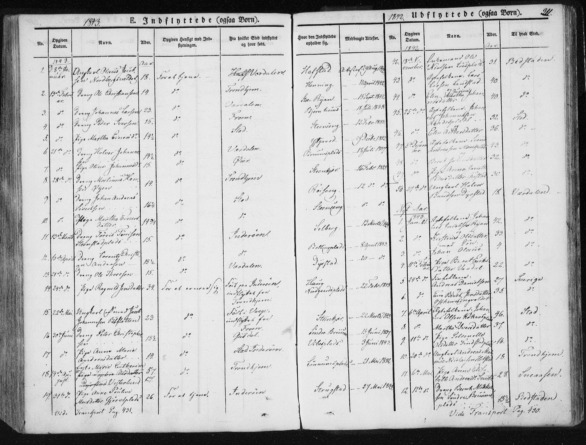 SAT, Ministerialprotokoller, klokkerbøker og fødselsregistre - Nord-Trøndelag, 735/L0339: Ministerialbok nr. 735A06 /1, 1836-1848, s. 311