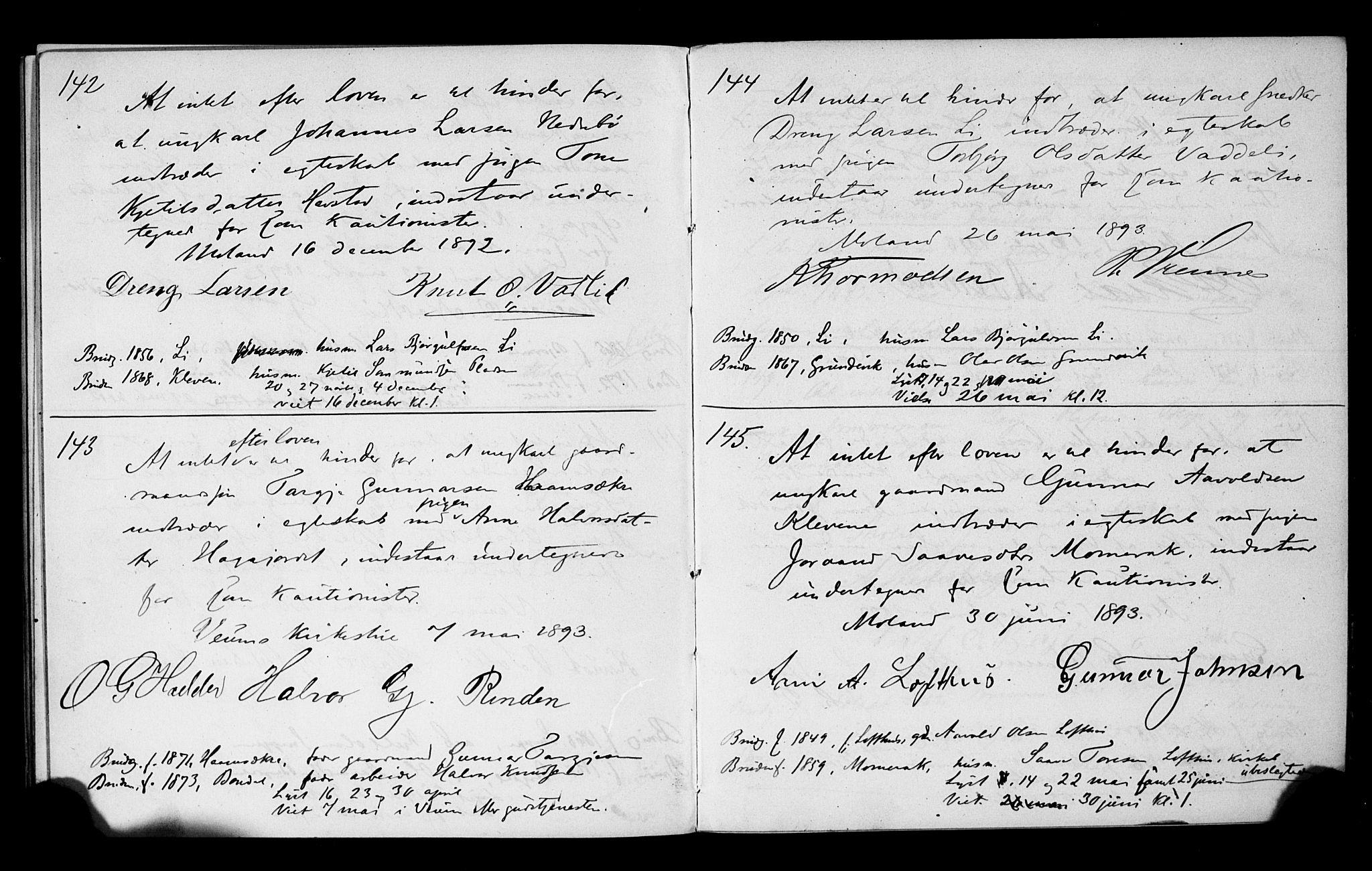SAKO, Fyresdal kirkebøker, H/Hb/L0001: Forlovererklæringer nr. 1, 1880-1897