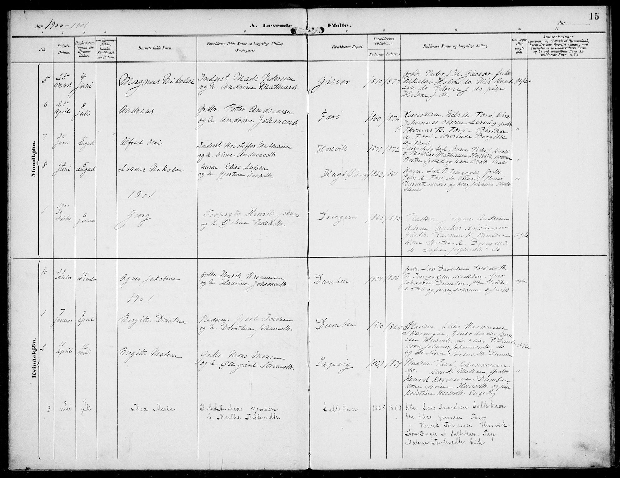 SAB, Solund sokneprestembete, Ministerialbok nr. B  1, 1891-1901, s. 15