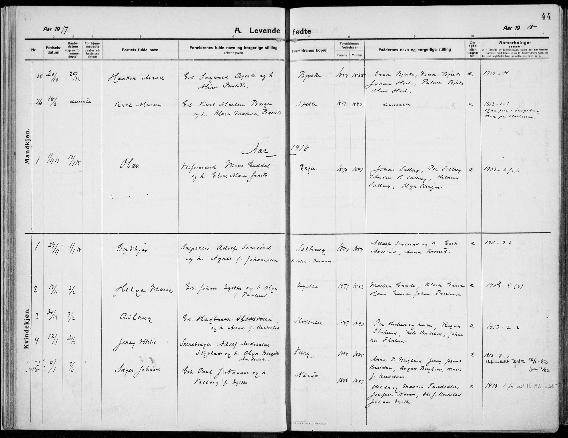 SAH, Kolbu prestekontor, Ministerialbok nr. 2, 1912-1926, s. 44