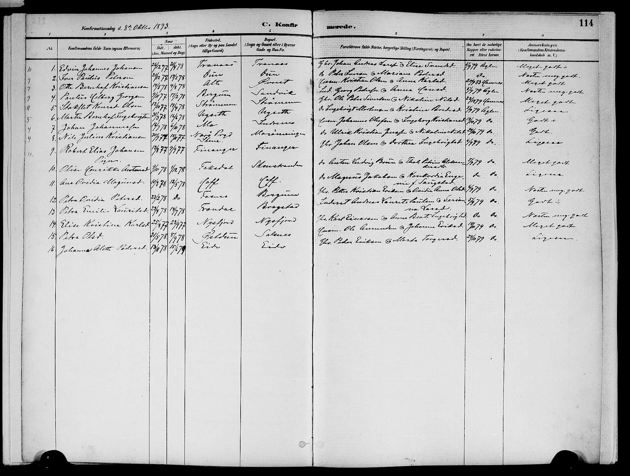SAT, Ministerialprotokoller, klokkerbøker og fødselsregistre - Nord-Trøndelag, 773/L0617: Ministerialbok nr. 773A08, 1887-1910, s. 114