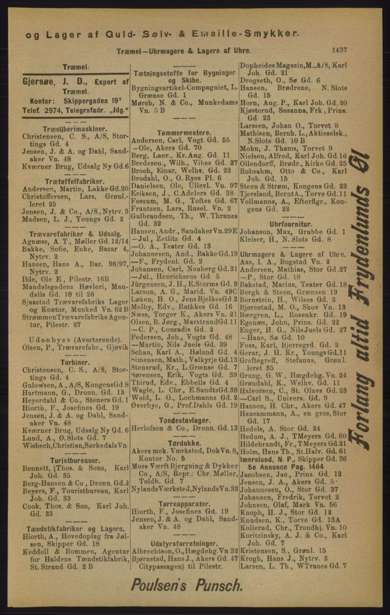 RA, Kristiania adressebok (publikasjon)*, 1905, s. 1437