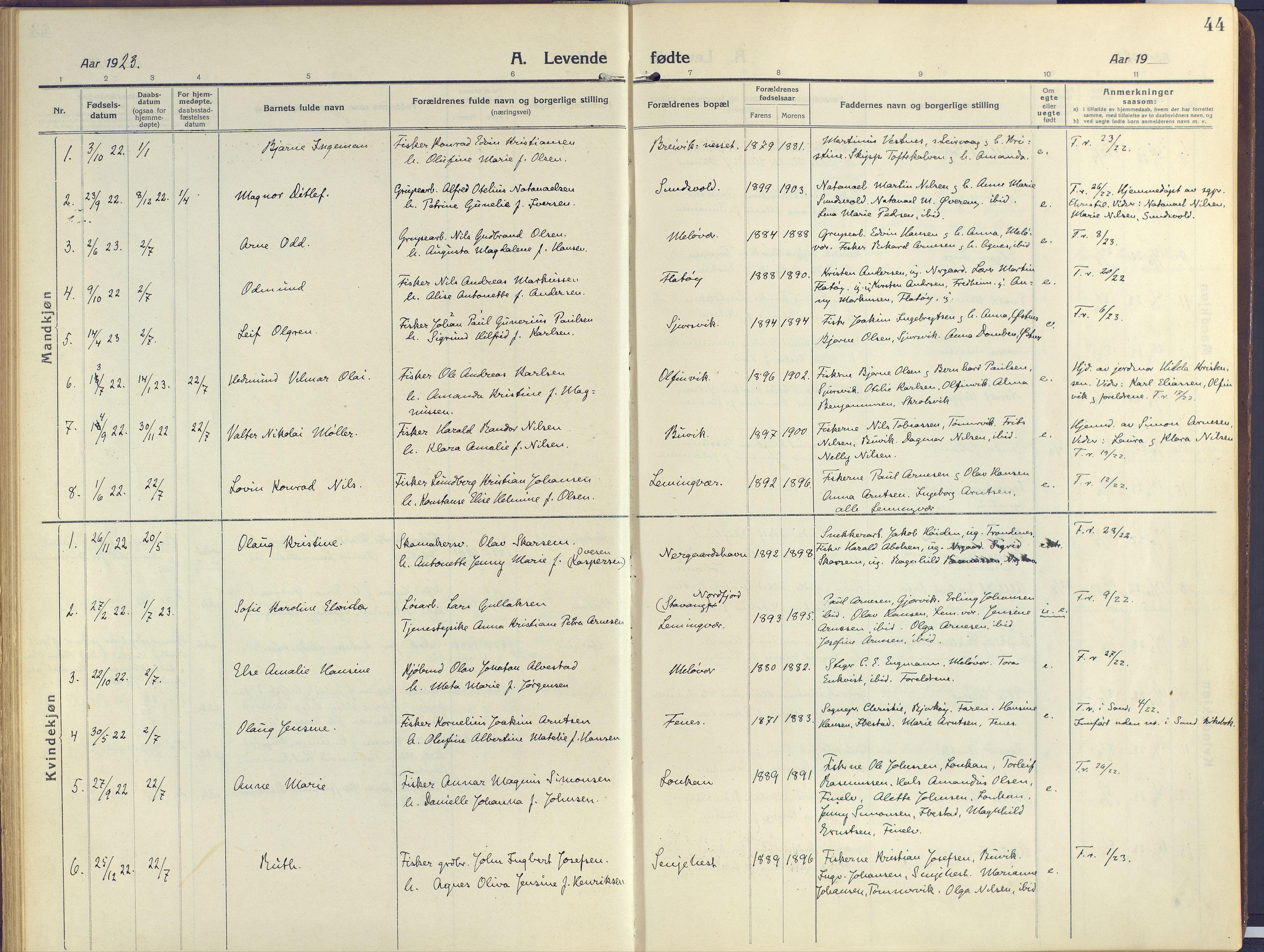 SATØ, Sand/Bjarkøy sokneprestkontor, I/Ia/Iaa/L0006kirke: Ministerialbok nr. 6, 1915-1929, s. 44
