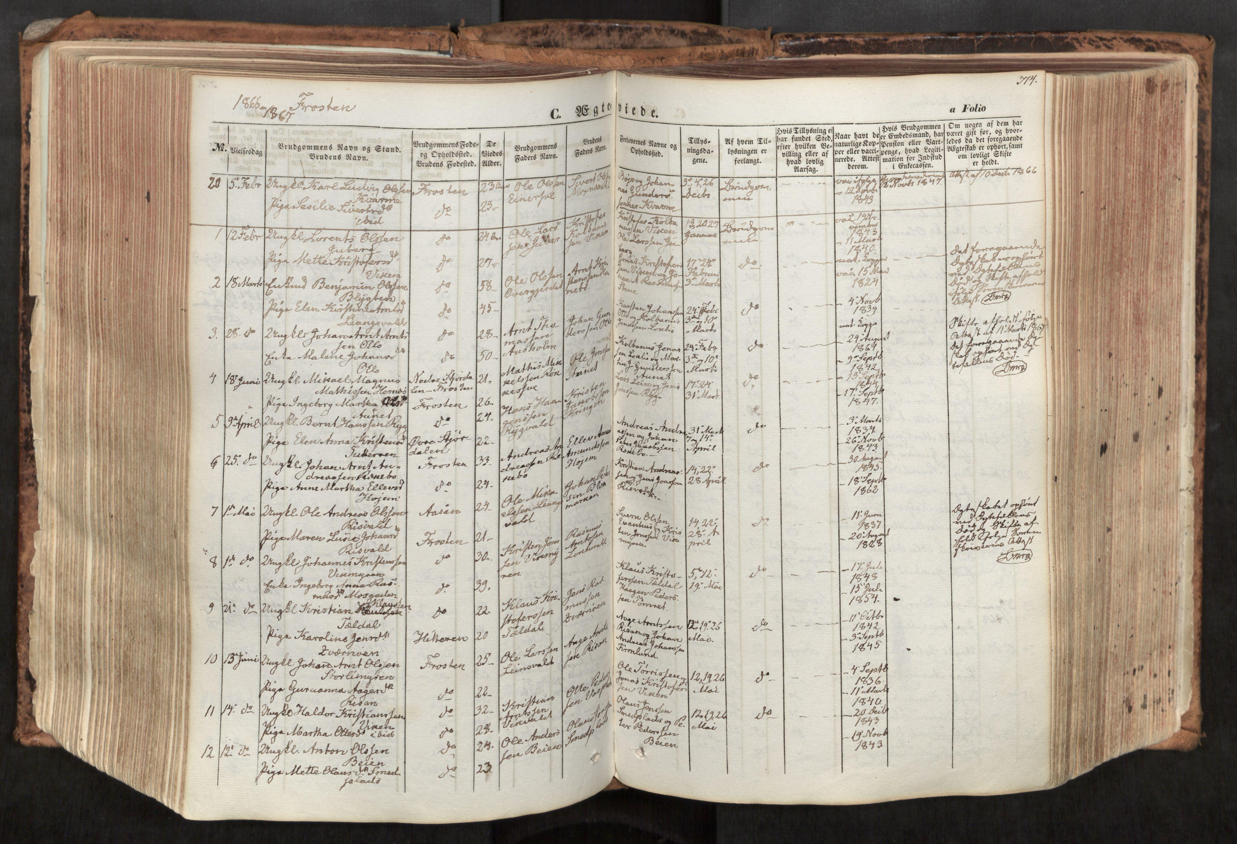 SAT, Ministerialprotokoller, klokkerbøker og fødselsregistre - Nord-Trøndelag, 713/L0116: Ministerialbok nr. 713A07, 1850-1877, s. 374