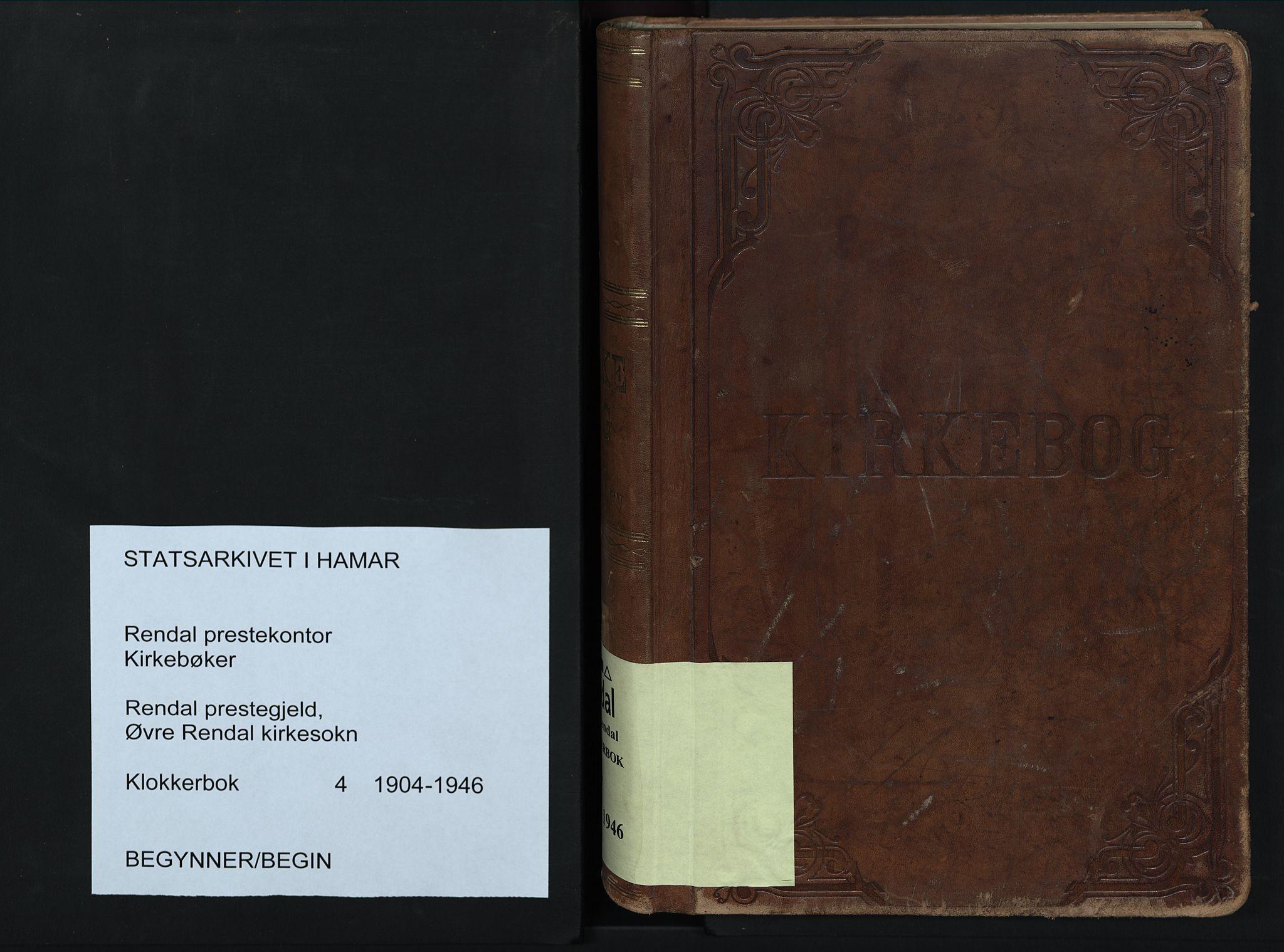 SAH, Rendalen prestekontor, H/Ha/Hab/L0004: Klokkerbok nr. 4, 1904-1946