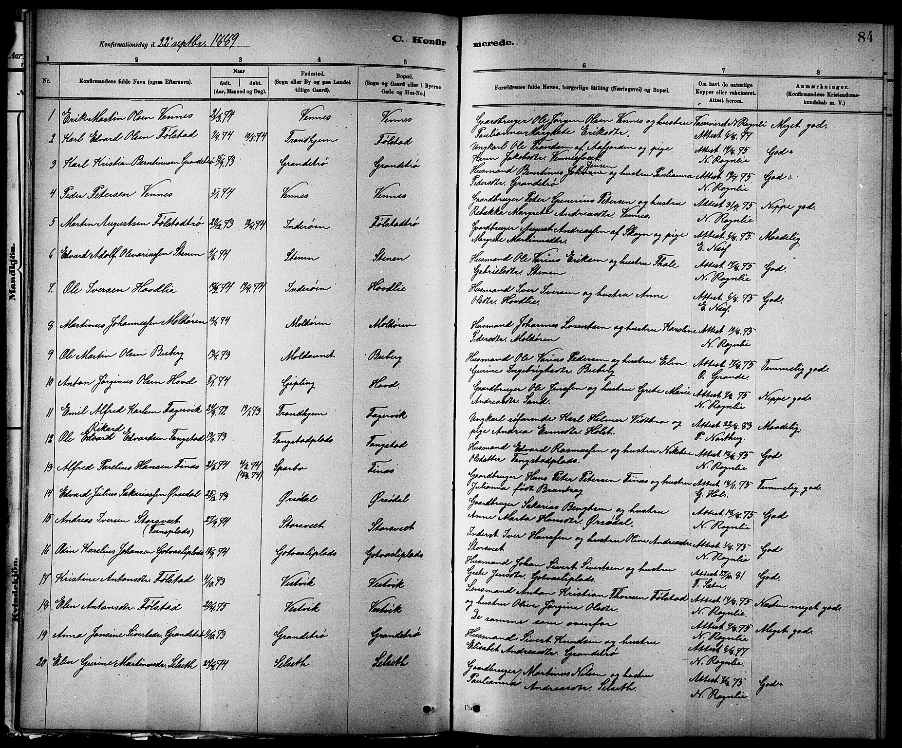 SAT, Ministerialprotokoller, klokkerbøker og fødselsregistre - Nord-Trøndelag, 744/L0423: Klokkerbok nr. 744C02, 1886-1905, s. 84