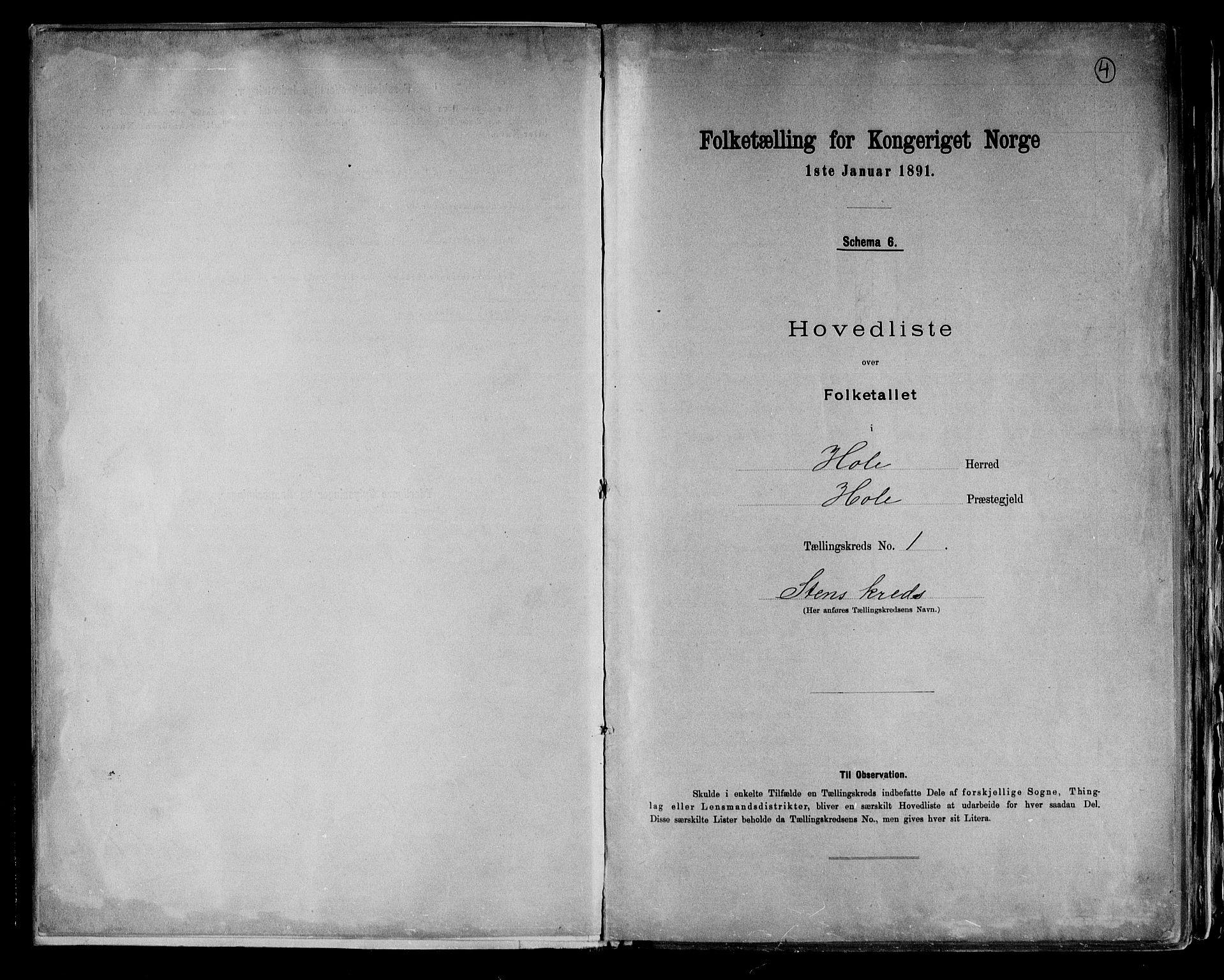 RA, Folketelling 1891 for 0612 Hole herred, 1891, s. 4